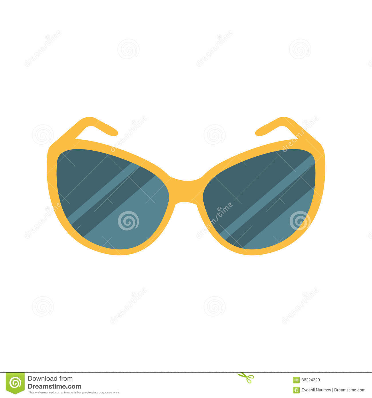 Stylish Dark Shades Eye Protection Against Sun Accessory, Part Of Summer Beach Vacation Series Of Illustrations