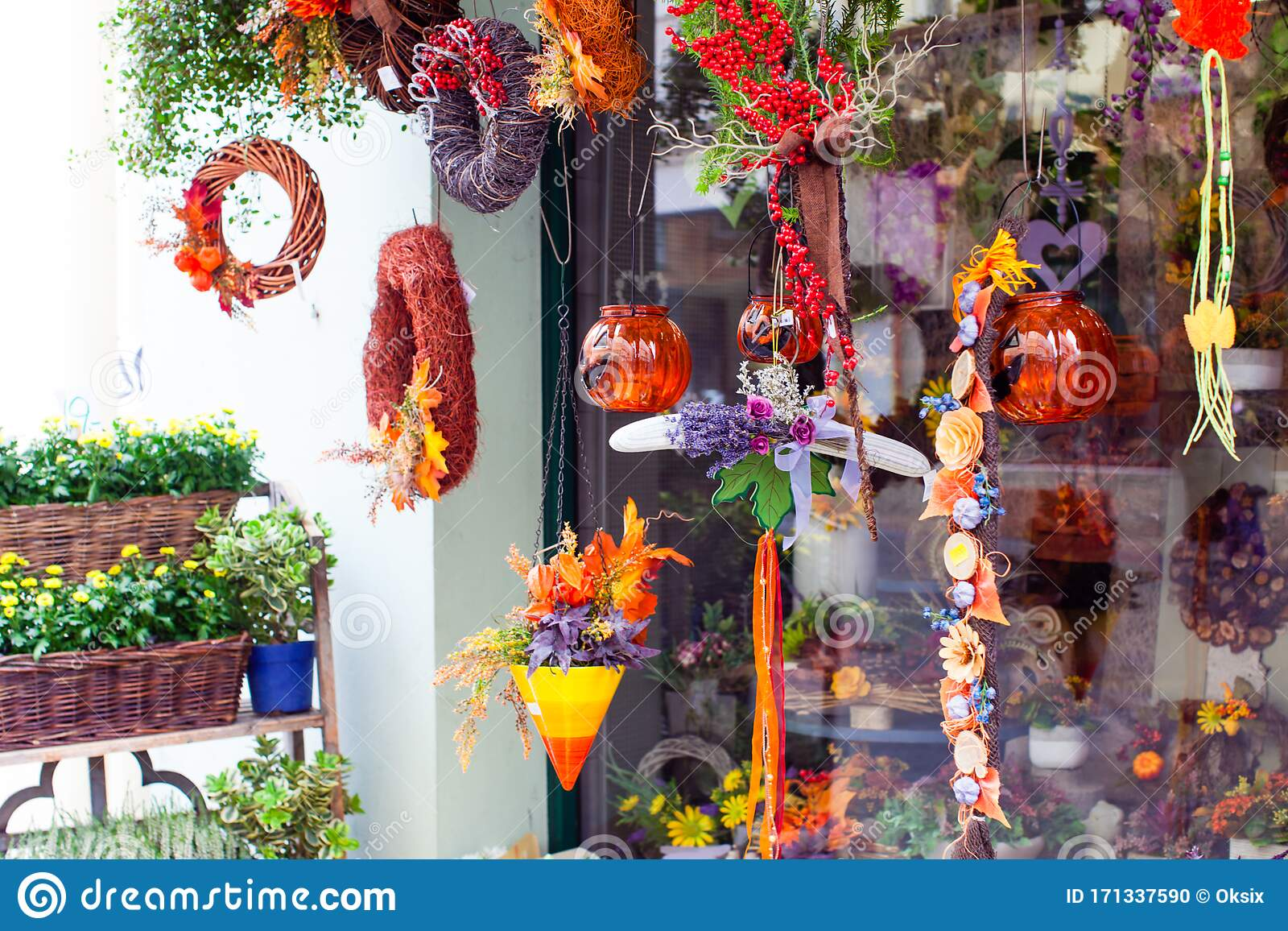 Stylish Decor Items For Autumn Holiday In Front Of Shop Window ...