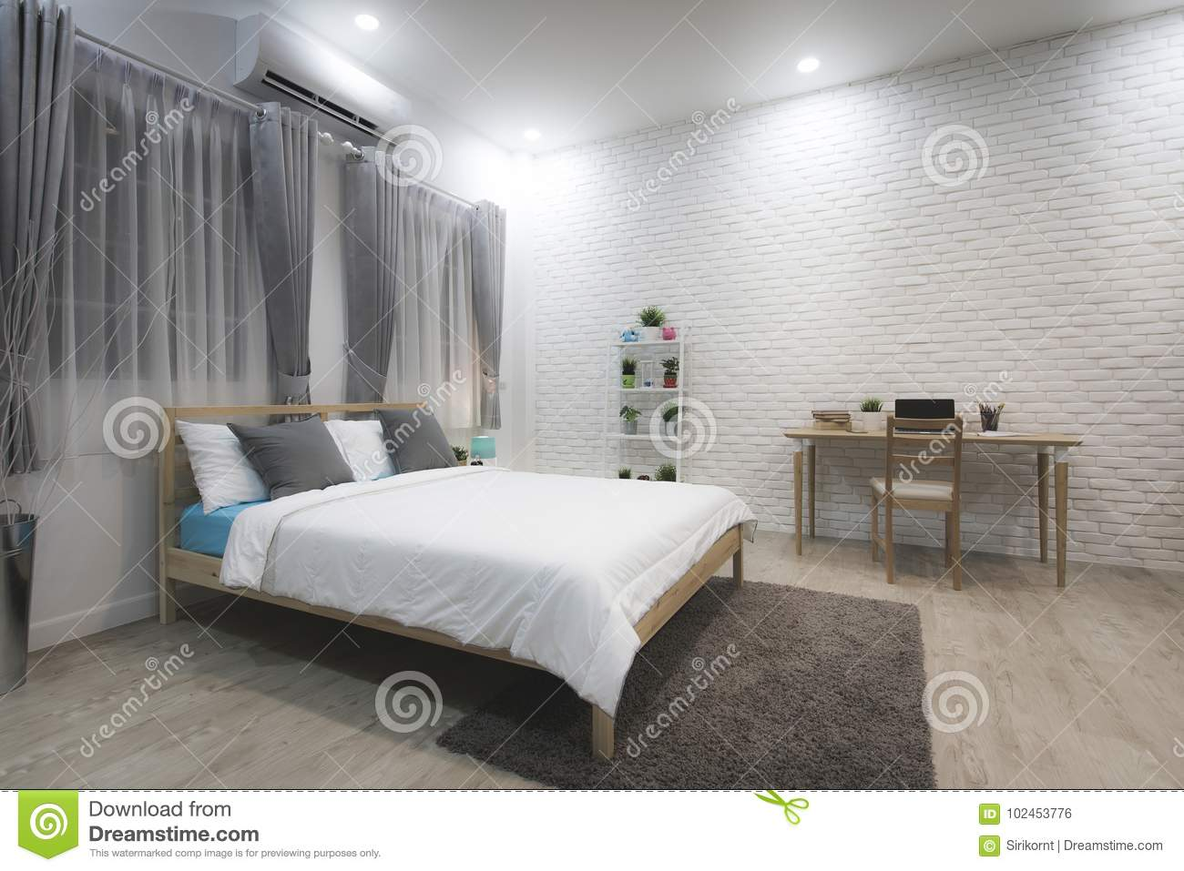 Stylish Designed Boy Teenager S Bedroom With White Walls