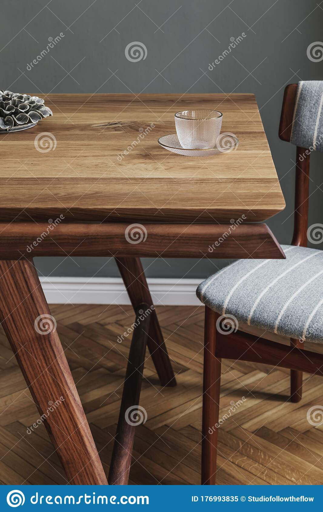 Stylish Dining Room With Wooden Table And Vintage Chair Stock Image Image Of Dining Designn 176993835