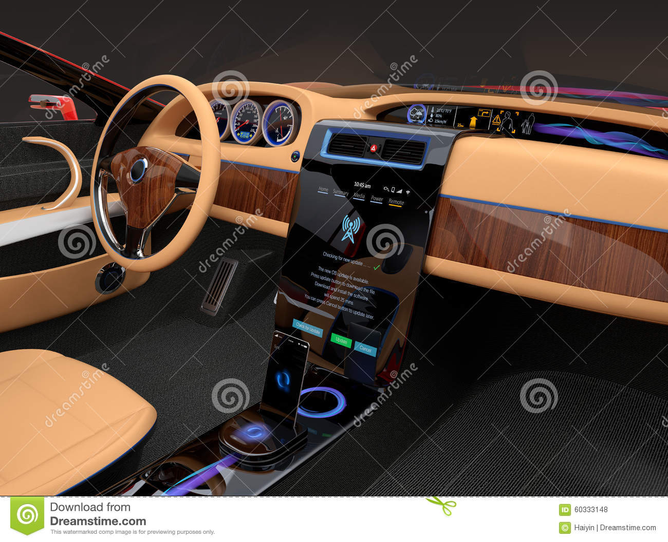 Stylish electric car interior with luxury wood pattern for Dash designs car interior shop