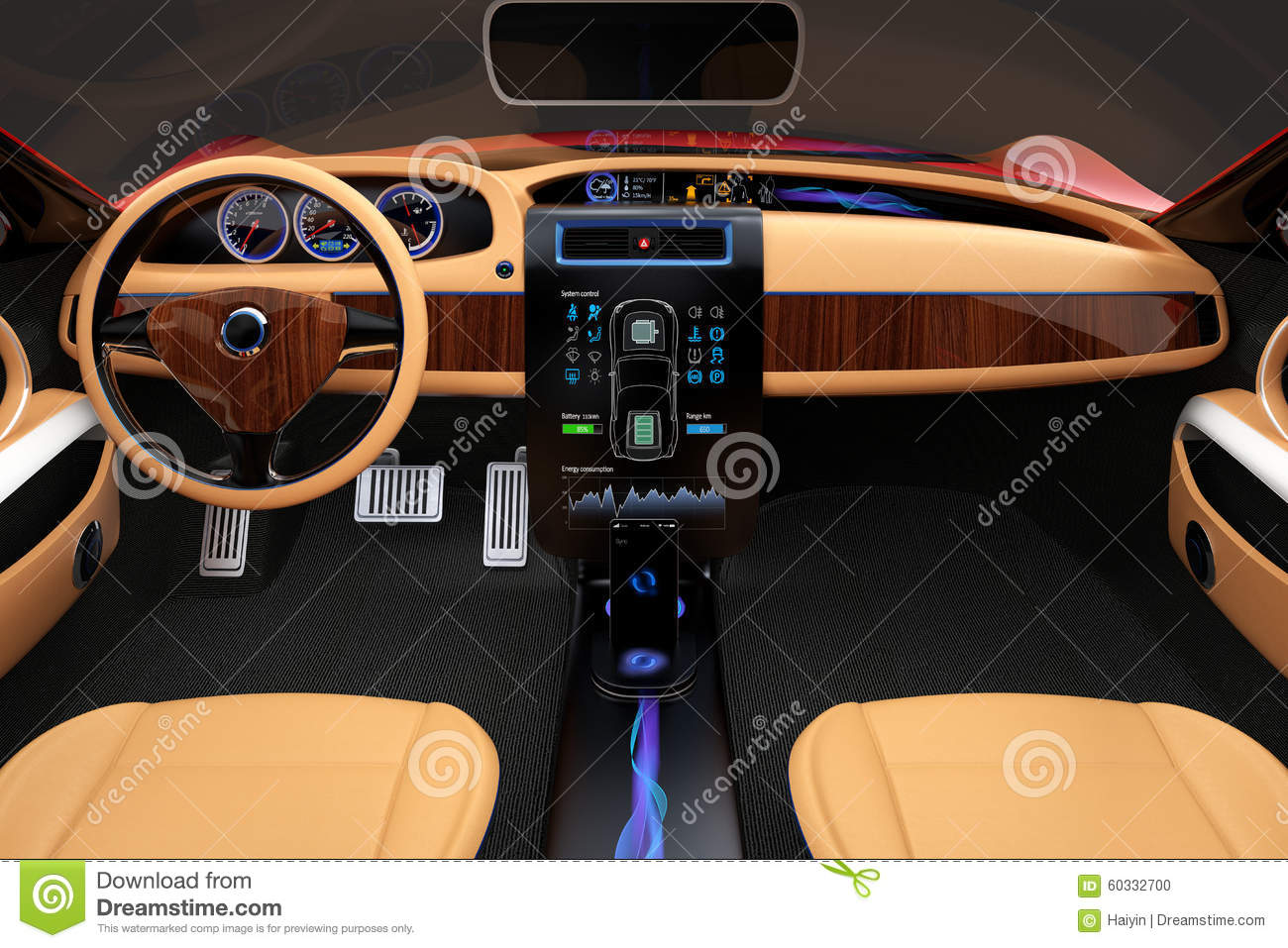 stylish electric car interior with luxury wood pattern decoration stock photo image 60332700. Black Bedroom Furniture Sets. Home Design Ideas