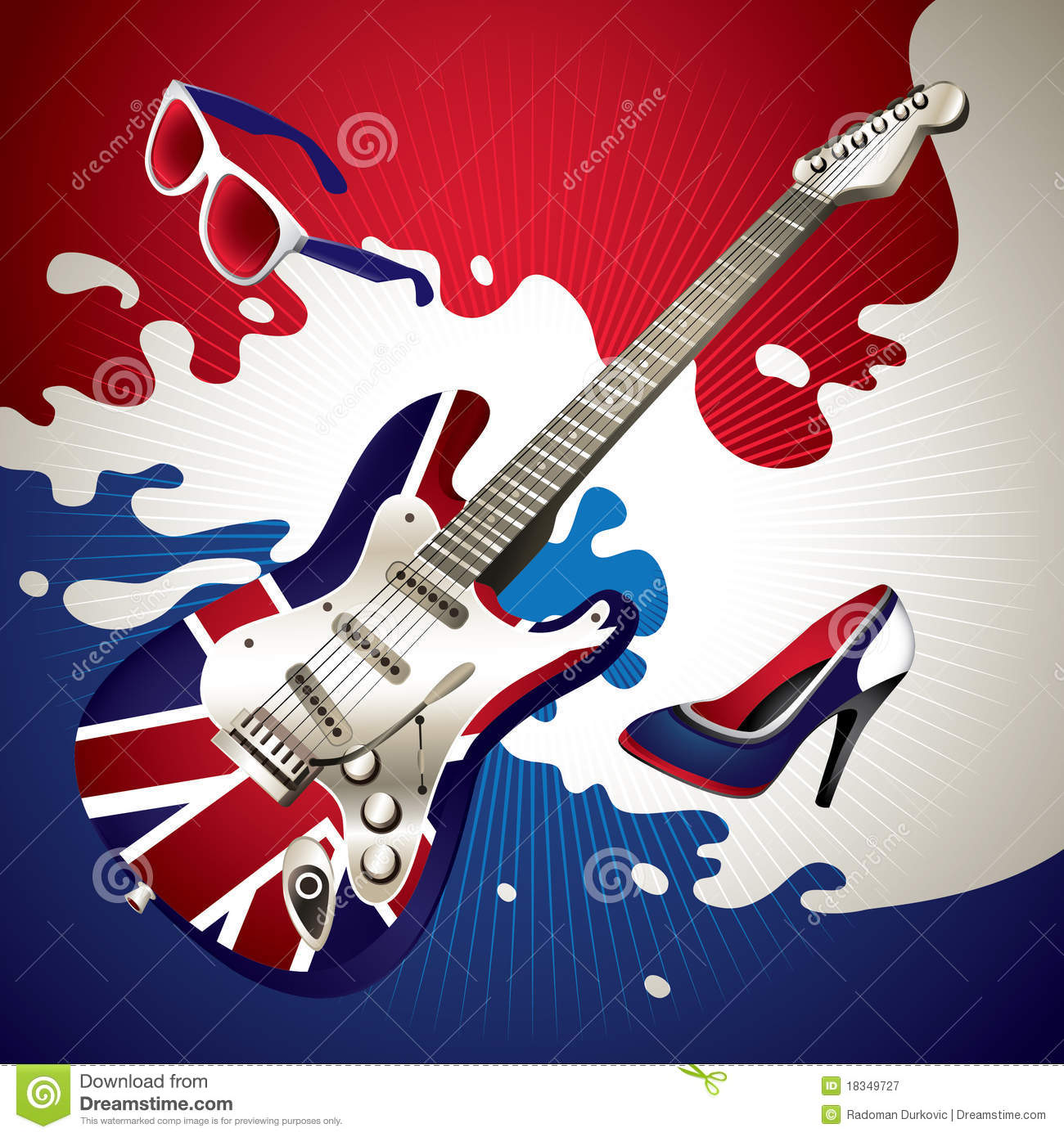 Stylish Electric Guitar. Royalty Free Stock Photography