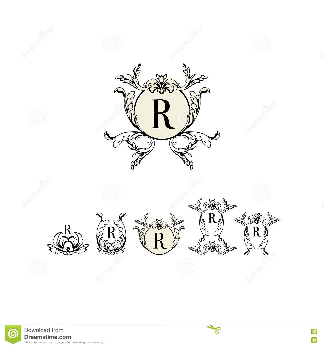 stylish and elegant frame design template with letter r vector