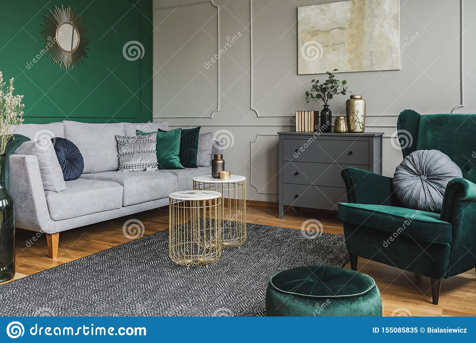 Stylish Emerald Green And Grey Living Room Interior Design With Abstract Painting On The Wall Stock Image Image Of Chair Home 155085835