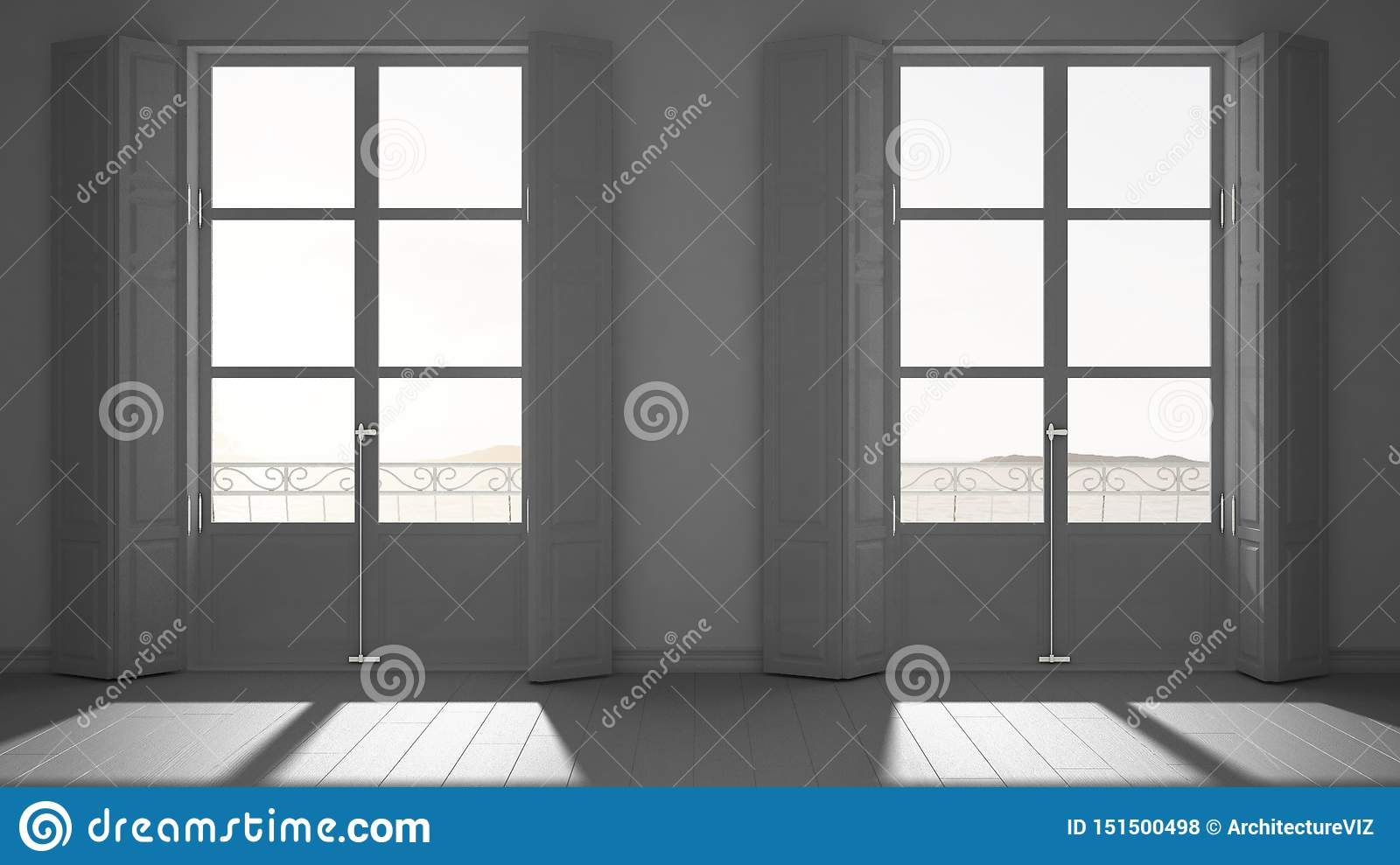 Stylish Empty Room With Panoramic Windows Close Up Classic