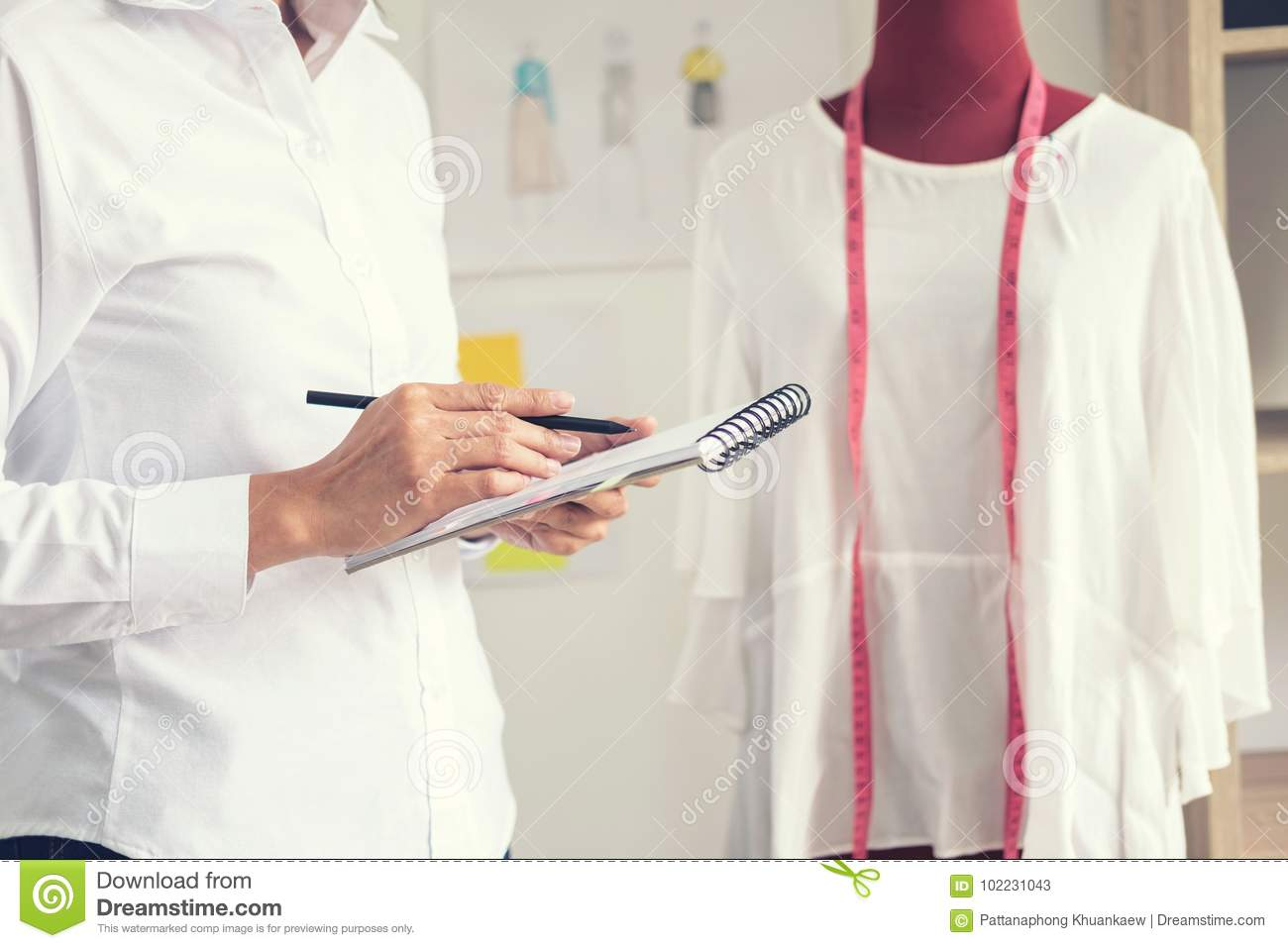 Stylish Fashion Designer Working With Measure Red Dummy As Sketches In Draft Book Of New Collection In Art Profession And Job Stock Image Image Of Costume Occupation 102231043