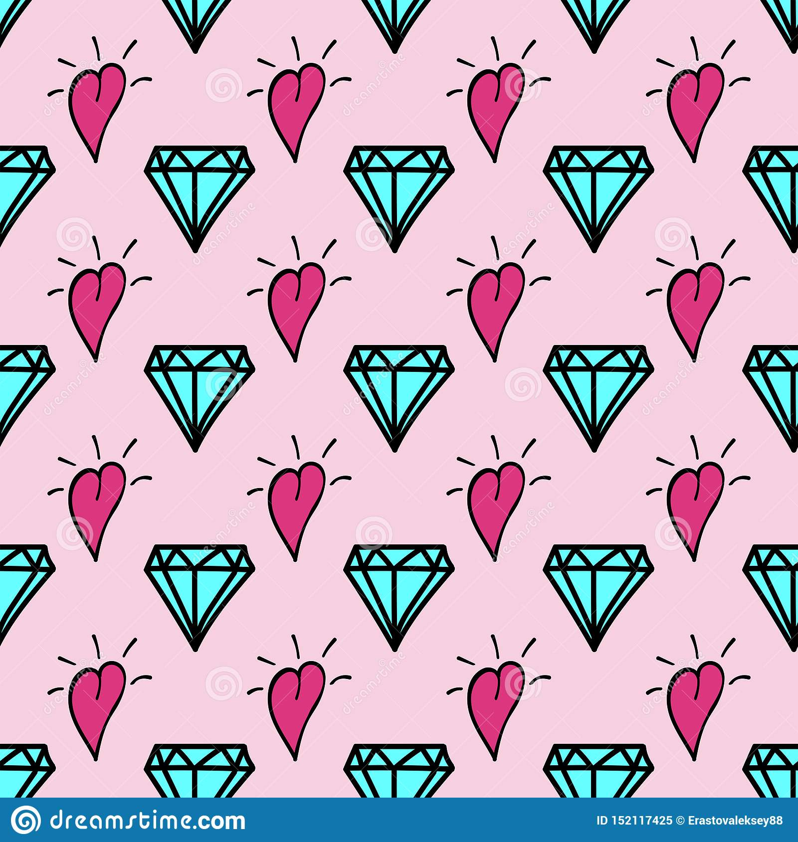 Stylish feminine seamless pattern drawn by hand. Cute print with repeating diamonds and hearts. Doodle.
