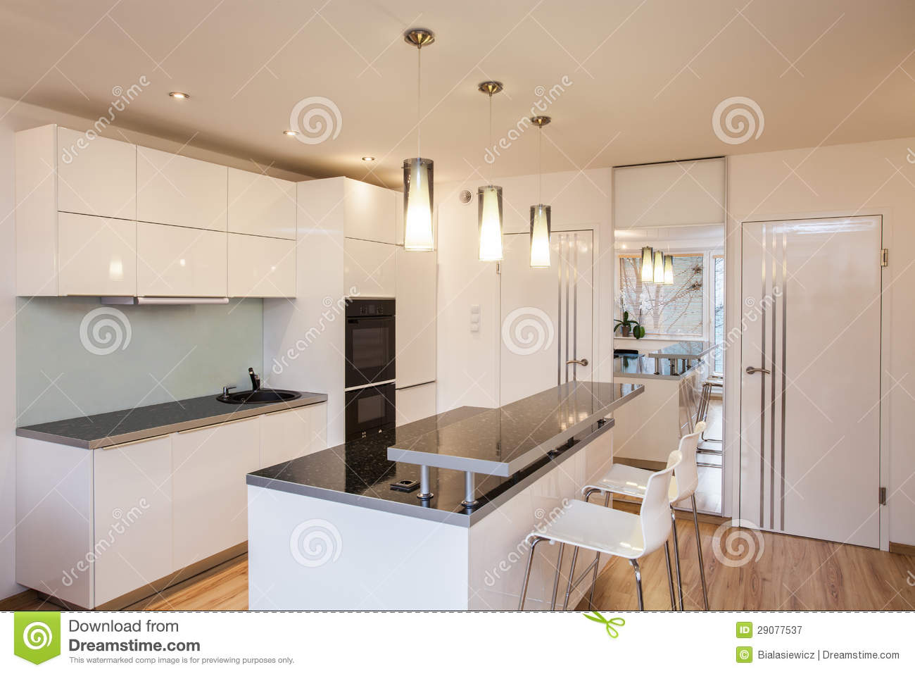Stylish Flat Kitchen Interior Royalty Free Stock