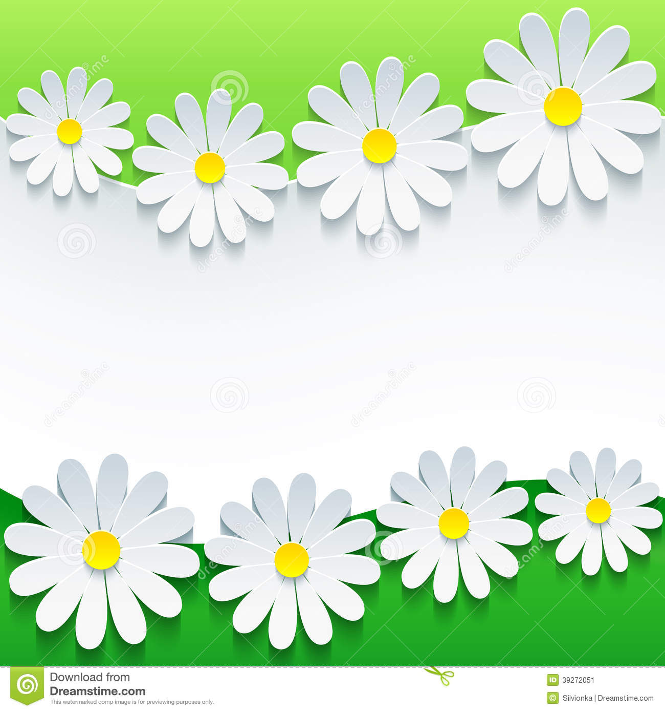 Stylish Floral Background 3d Flower Chamomile Stock Vector