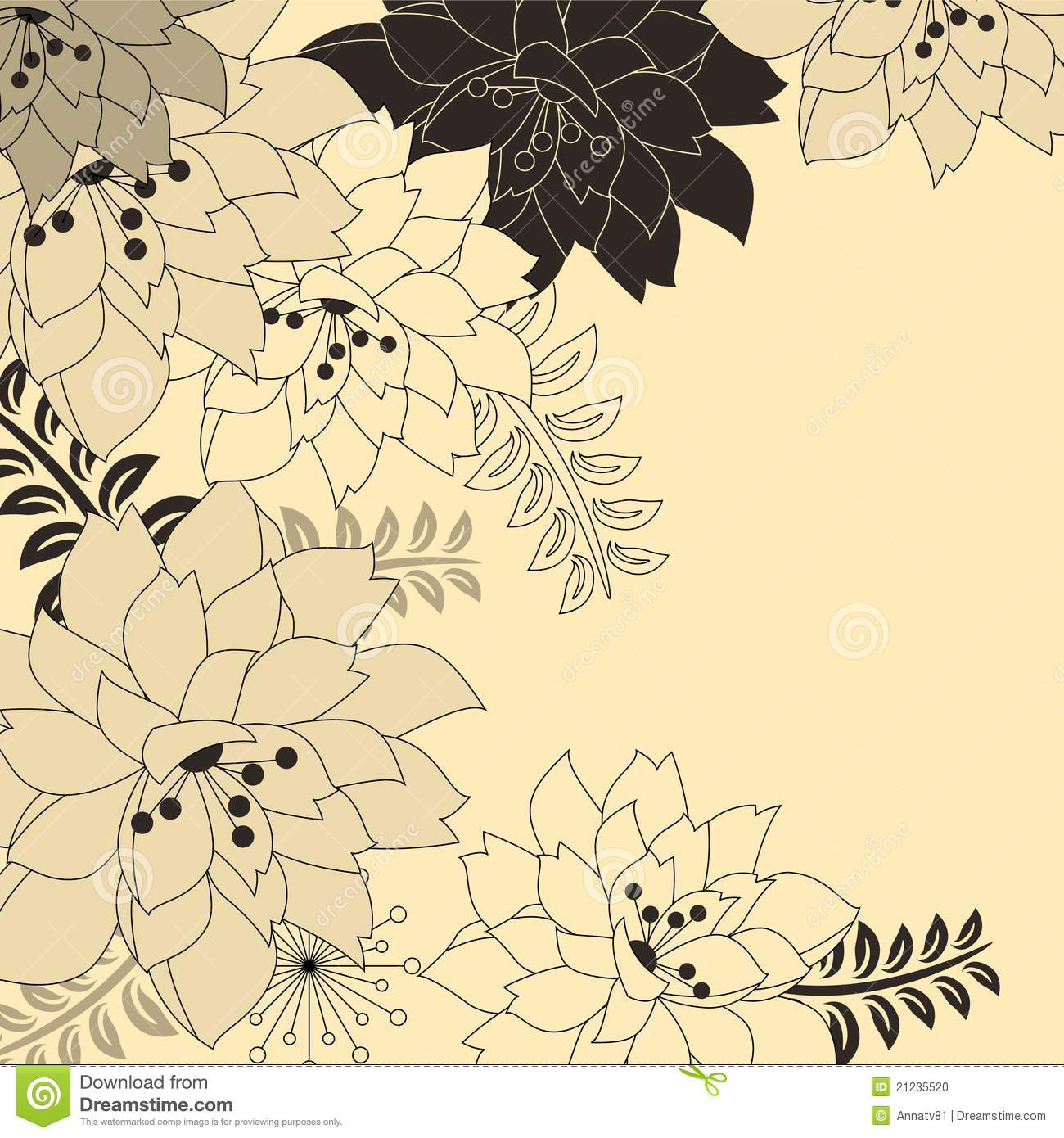 Stylish floral beige background