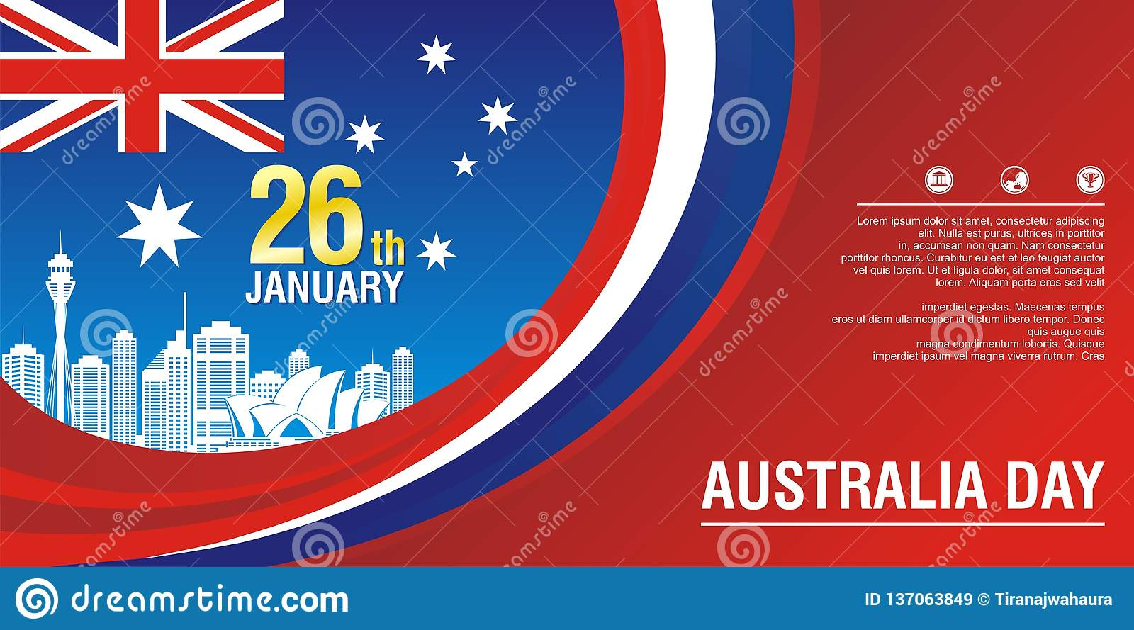 Stylish flyer, with Australia Flag Style and wave design
