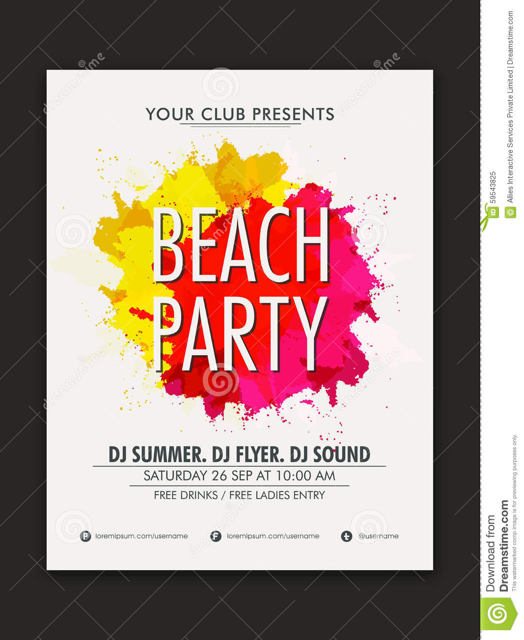 stylish flyer or banner for beach party celebration stock