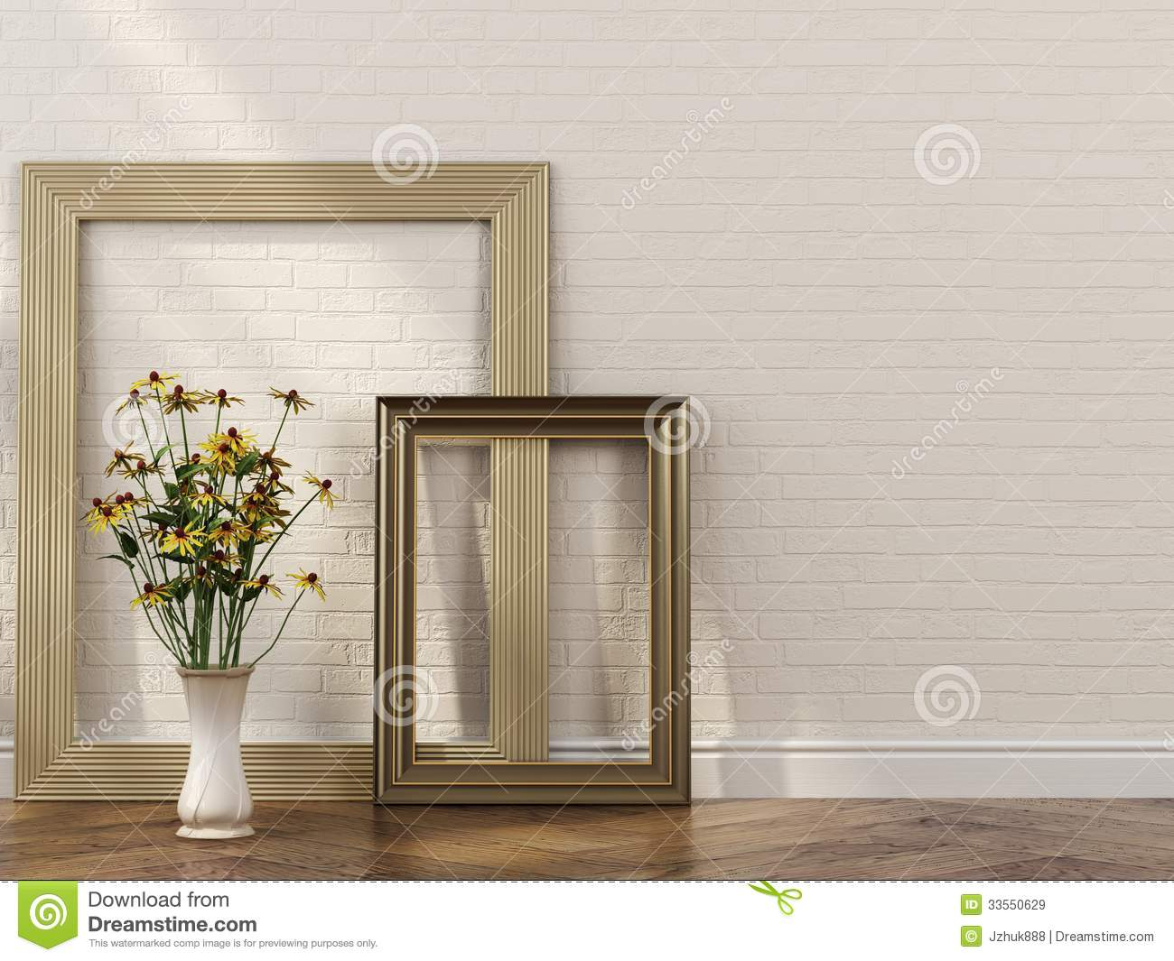 stylish frames and bunch of flowers in interior