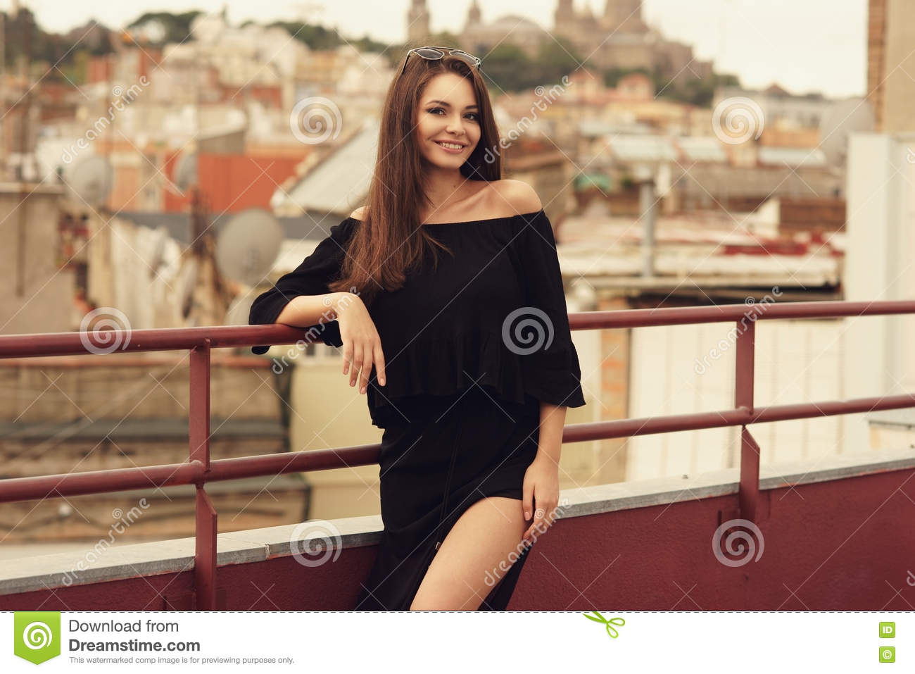 1261bea3b Stylish Girl In Black Clothes Stock Photo - Image of beauty ...