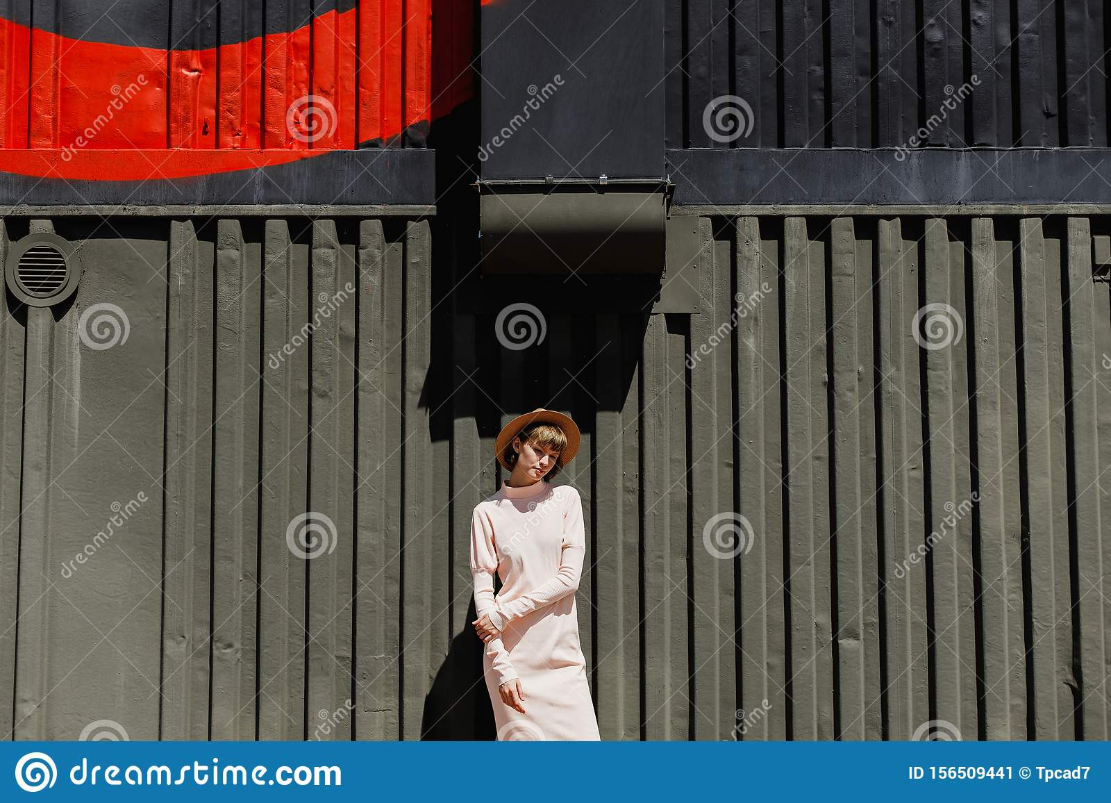 Stylish girl in a gently pink dress and straw hat standing next to a dark metal fence on a sunny day