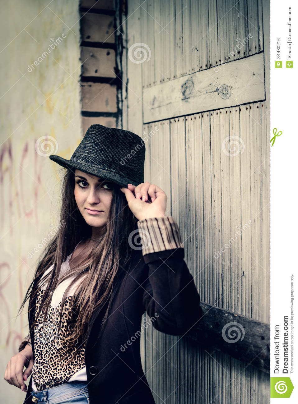 Stylish girl hipster in retro style royalty free stock image image 34480216 - Vintage style images ...