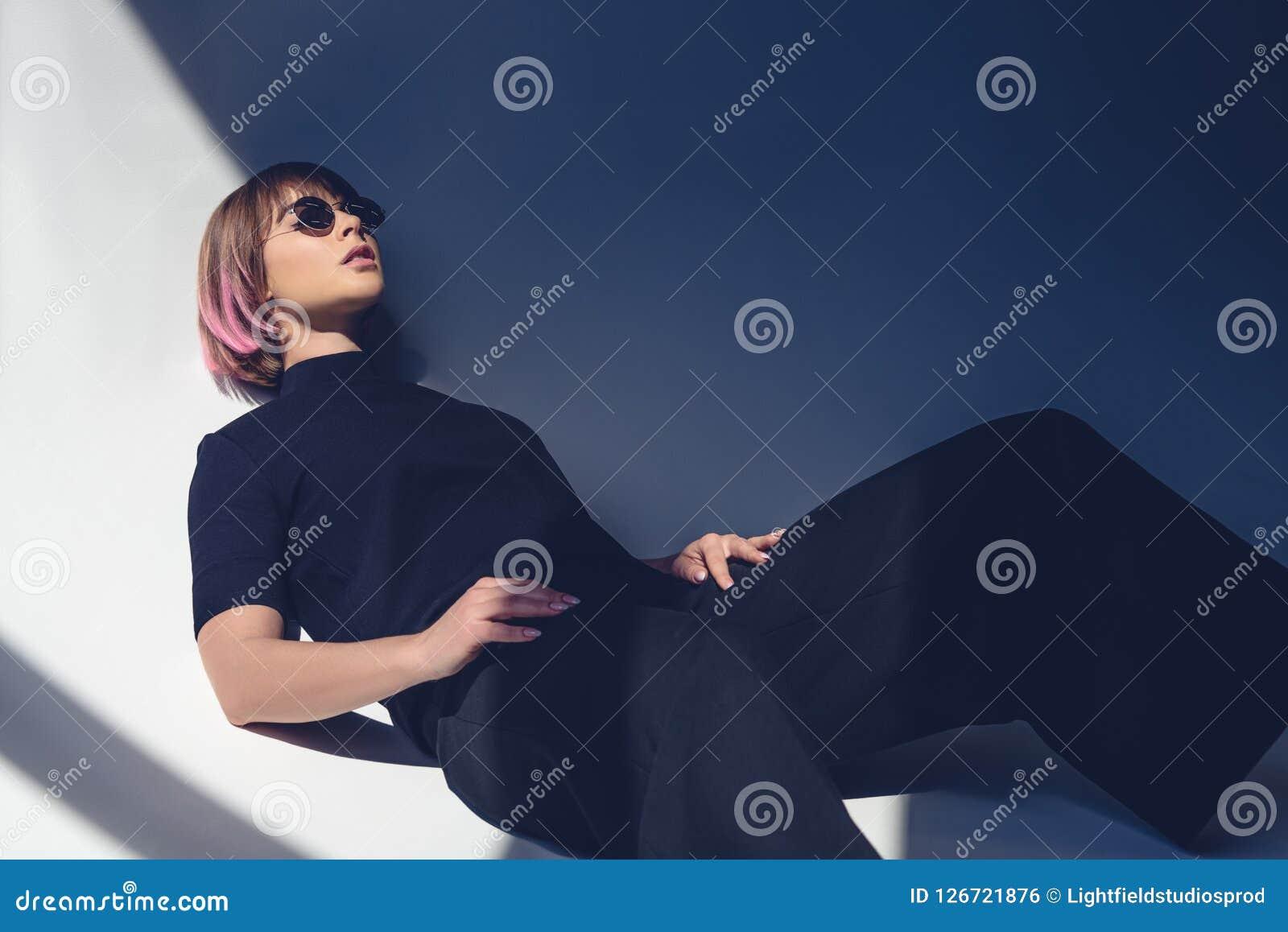 9e70da9a8 Stylish Girl Lying In Black Clothes Stock Photo - Image of stylish ...