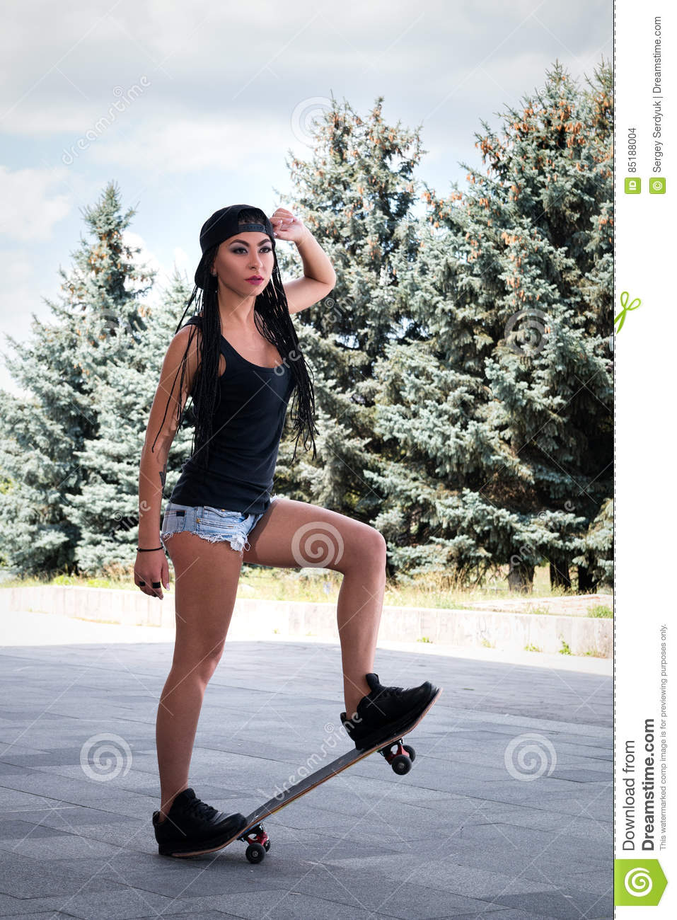 girl skateboard Sexy on
