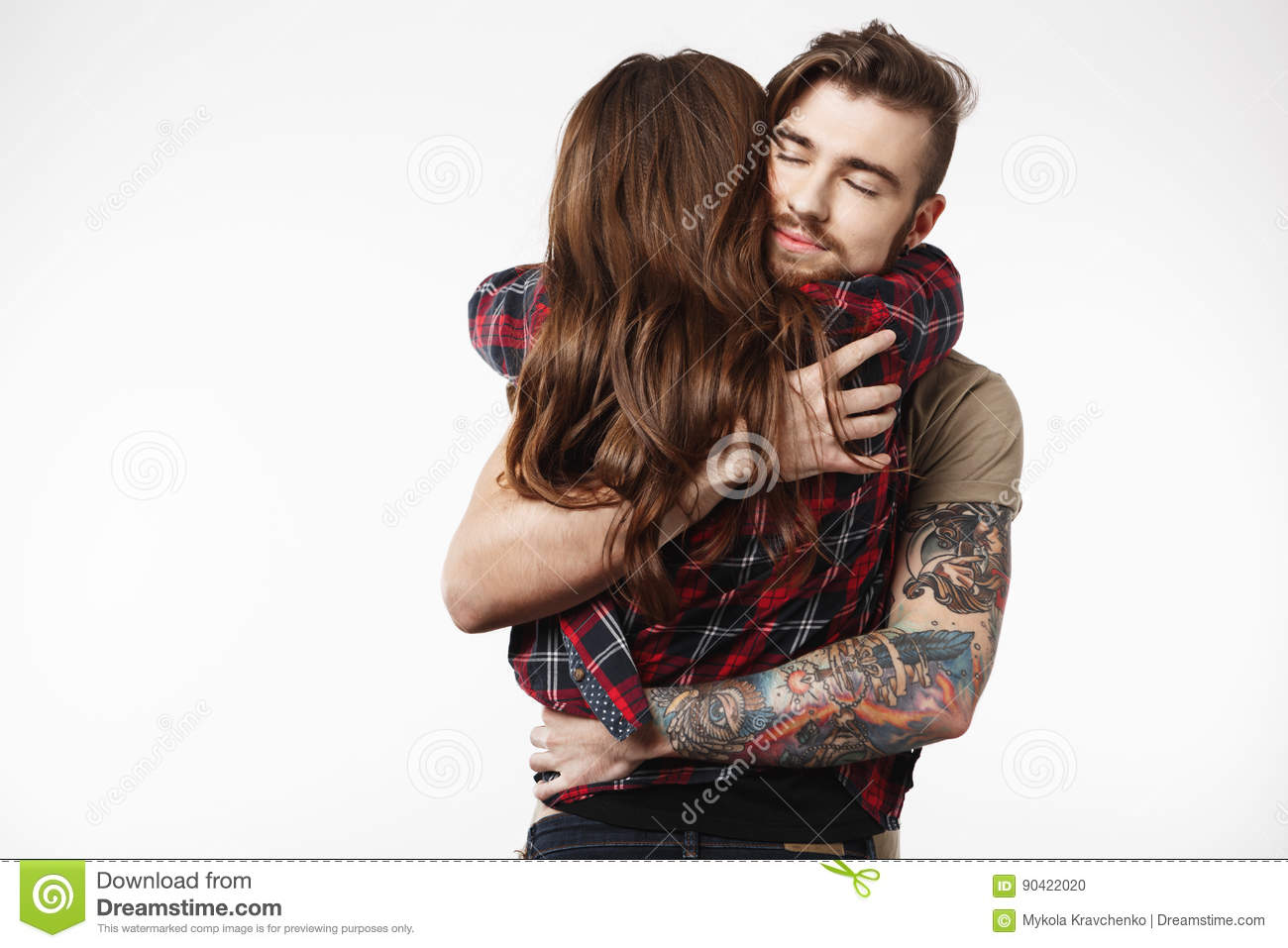 Stylish Girl Standing With Back, Man Holding Her Tight. Royalty-Free Stock Image | CartoonDealer ...