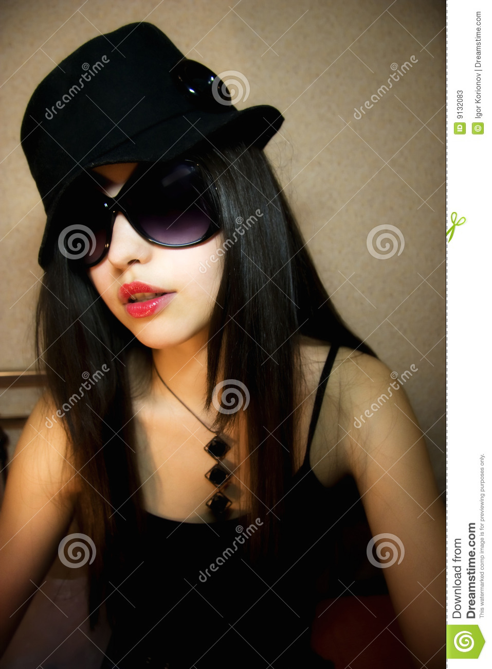Stylish Girl In Sunglasses And And Hat Stock Photo ... Stylish Cool Girl With Hat