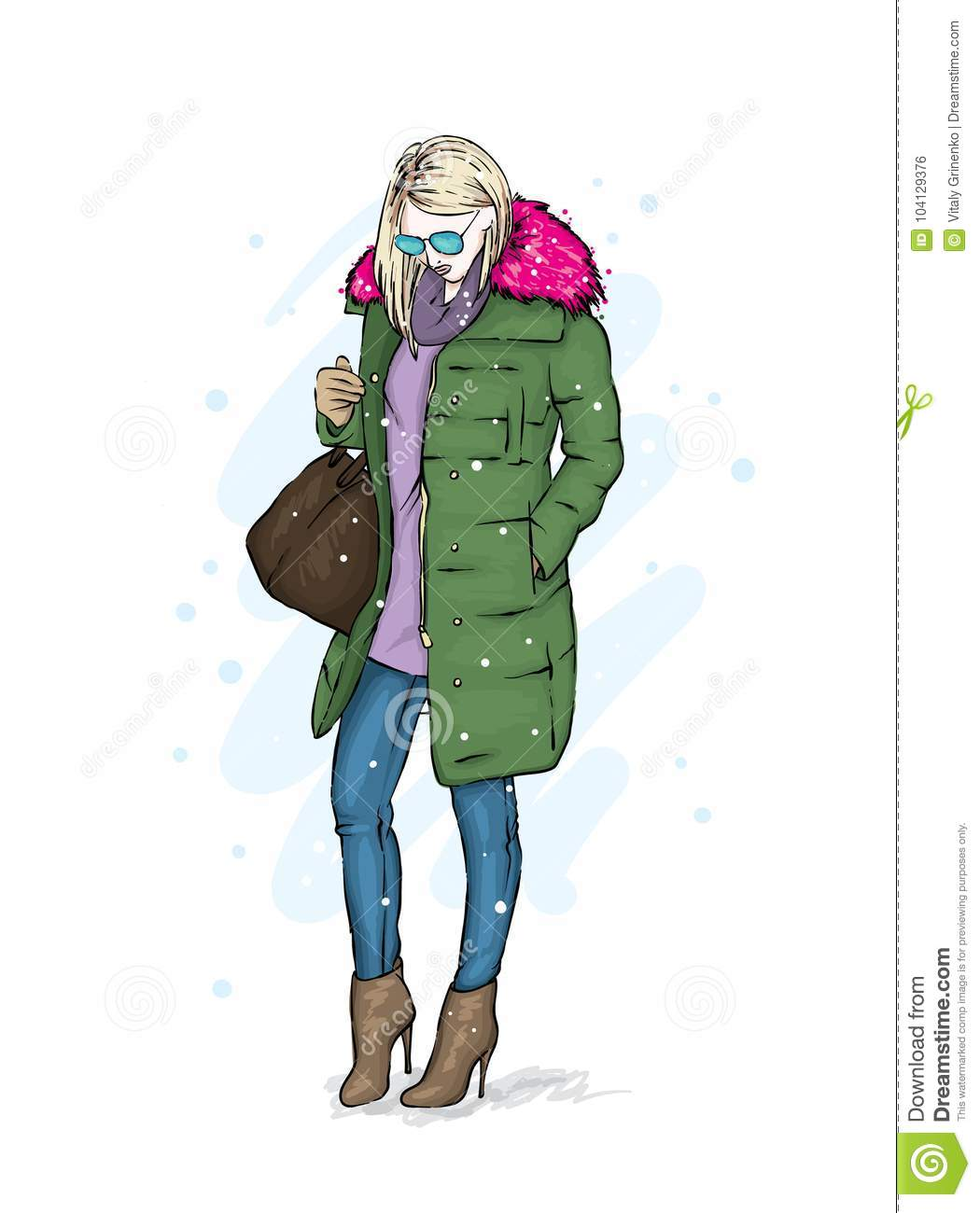 2bf36afa92 Stylish Girl In A Trendy Winter Coat