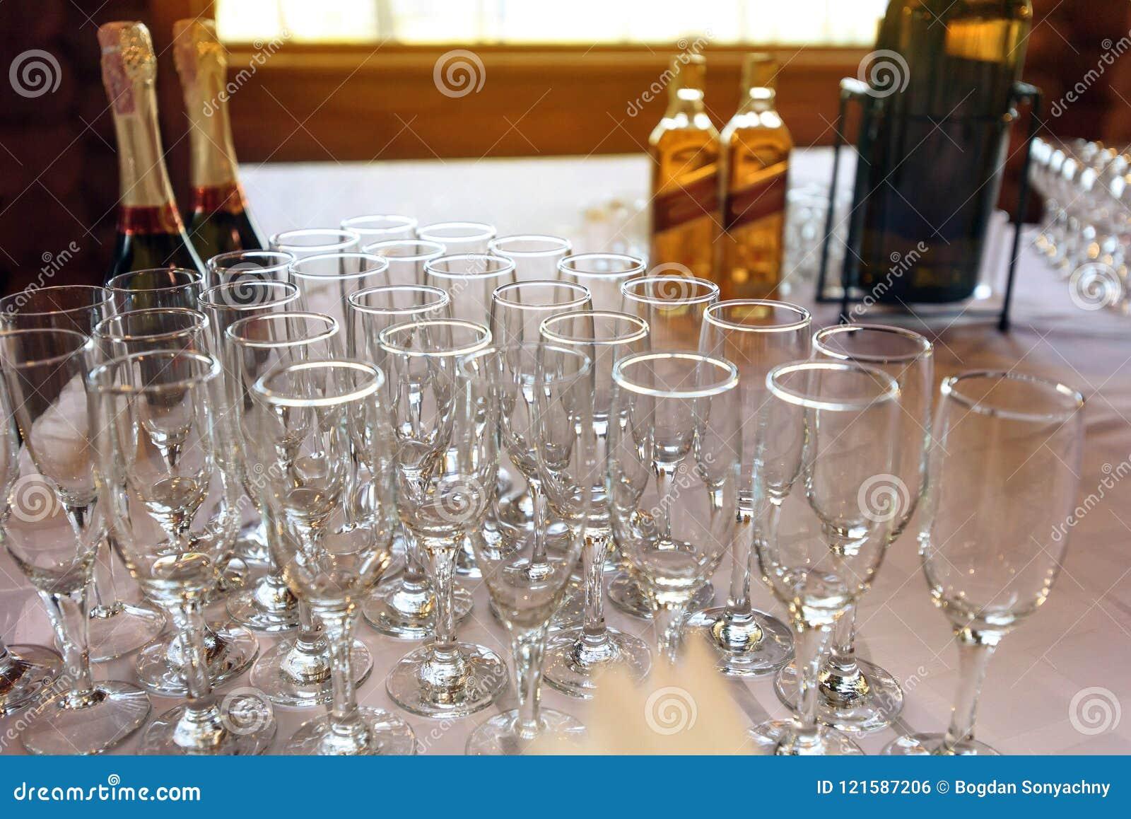 Stylish Glasses At Alcohol Bar Table At Luxury Wedding Reception