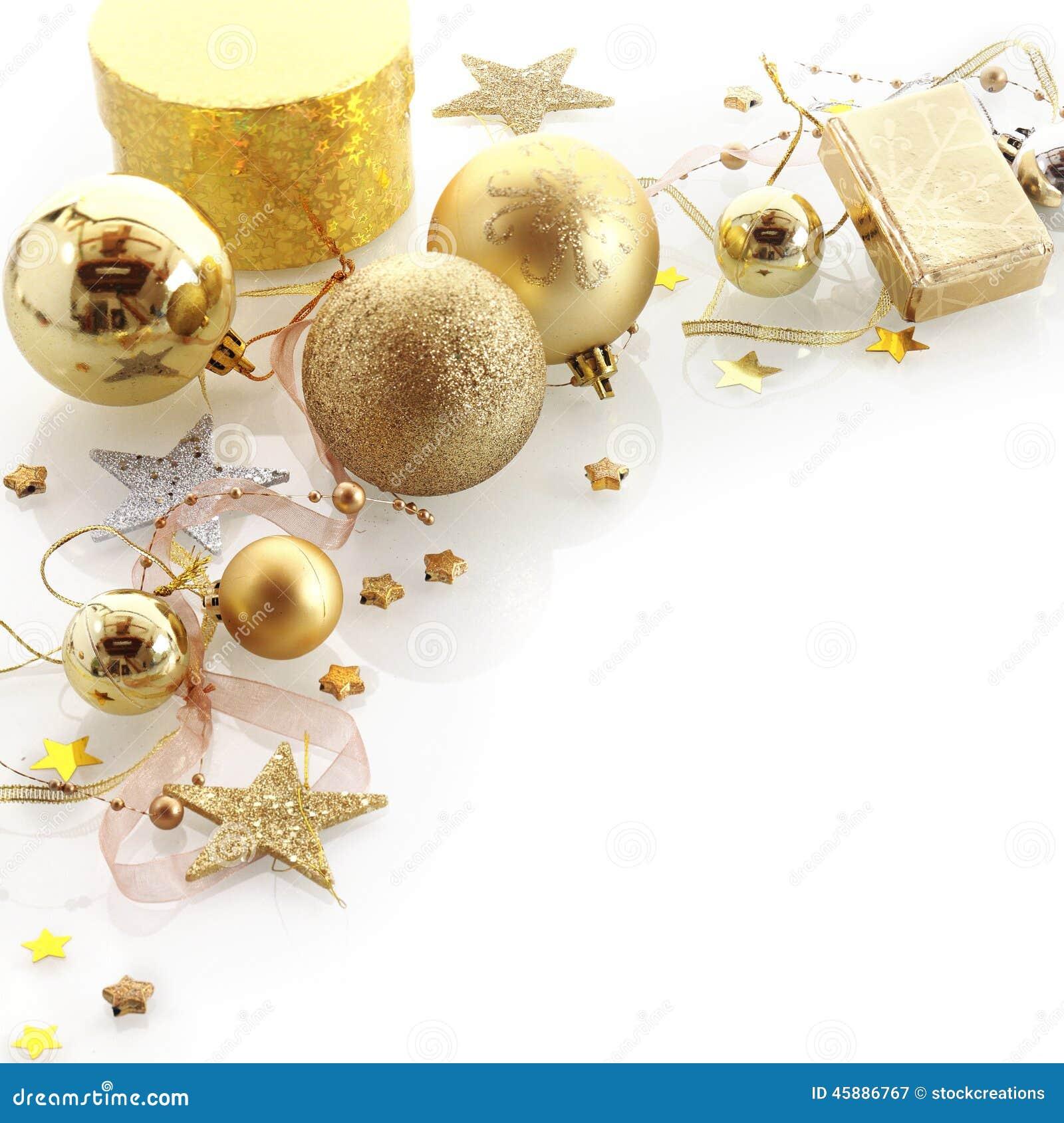 Stylish Gold Christmas Corner Border Stock Image - Image ...