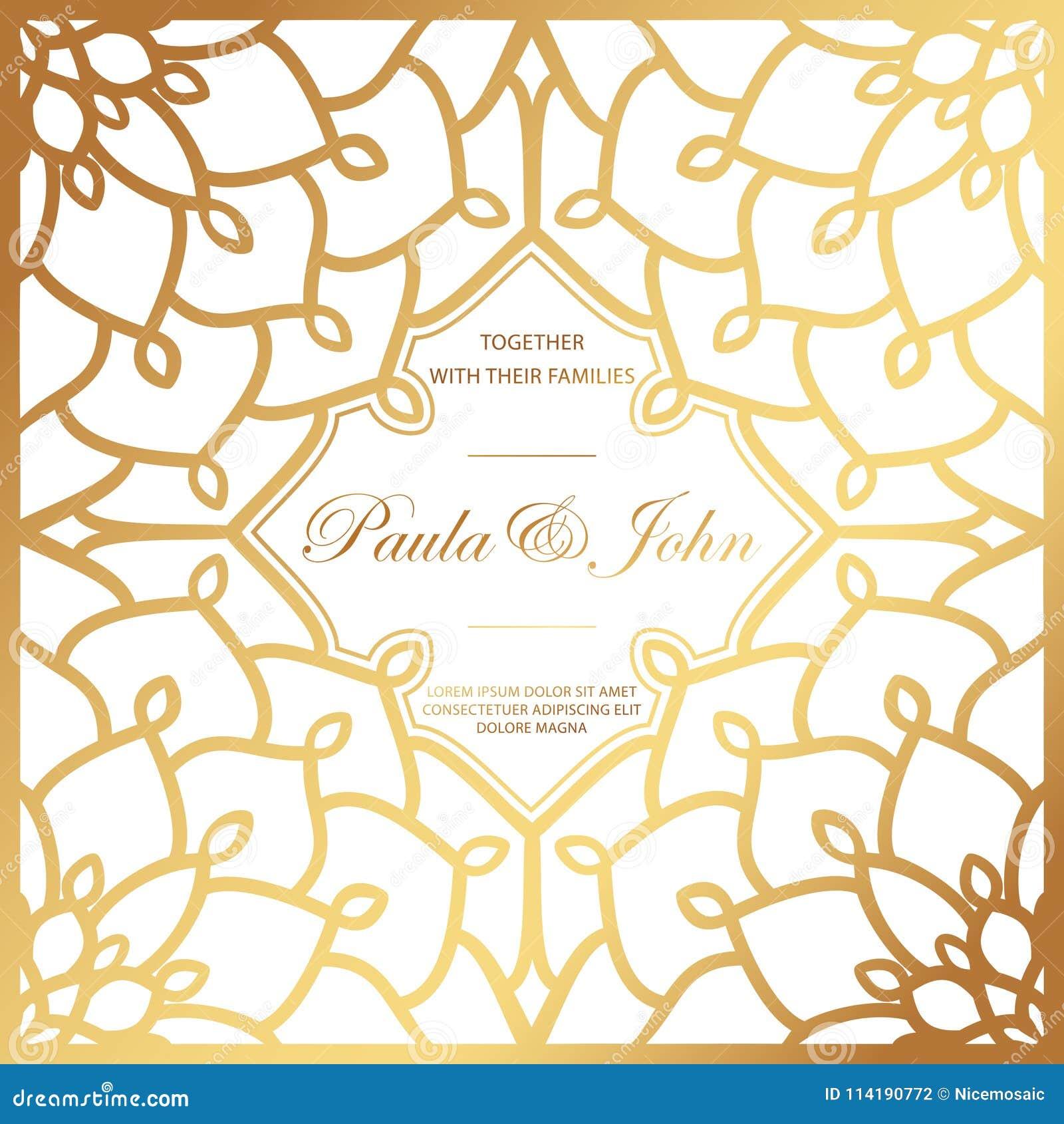 Stylish Gold And White Wedding Card Royal Vintage Wedding Invit