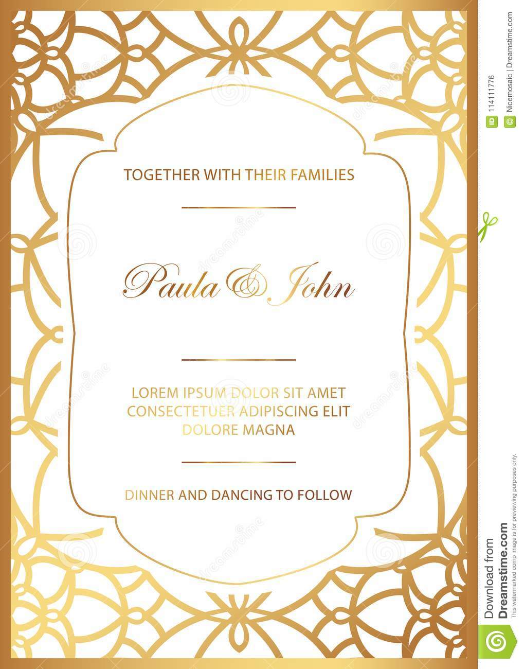 Stylish Gold And White Wedding Card Royal Vintage Wedding Invitation Template Save The Date Card Trendy Design With Geometric Stock Vector Illustration Of Celebrate Deco 114111776