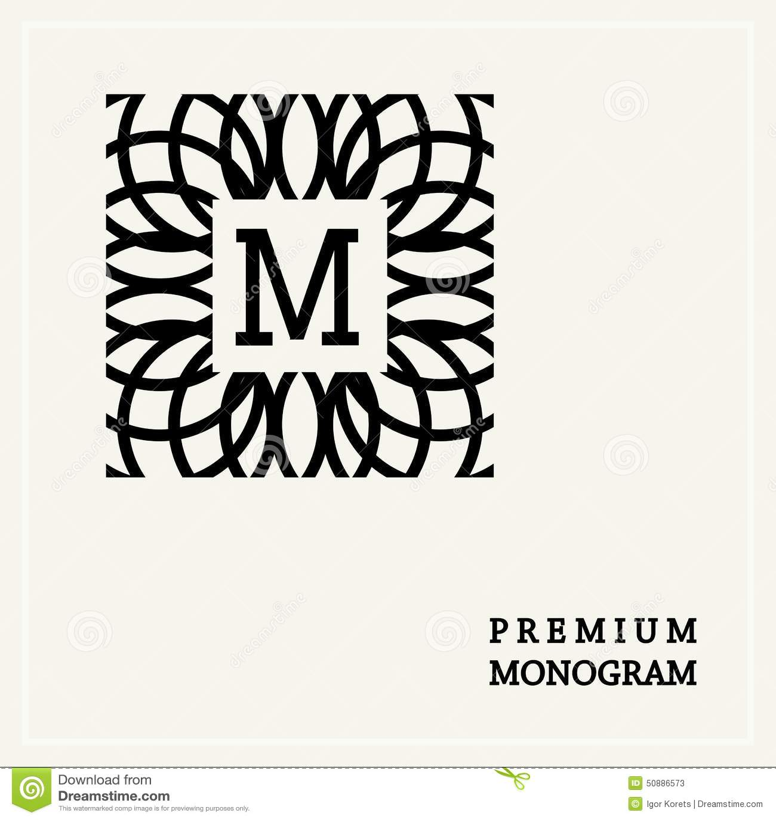 Stylish Graceful Monogram In Art Nouveau Style Stock