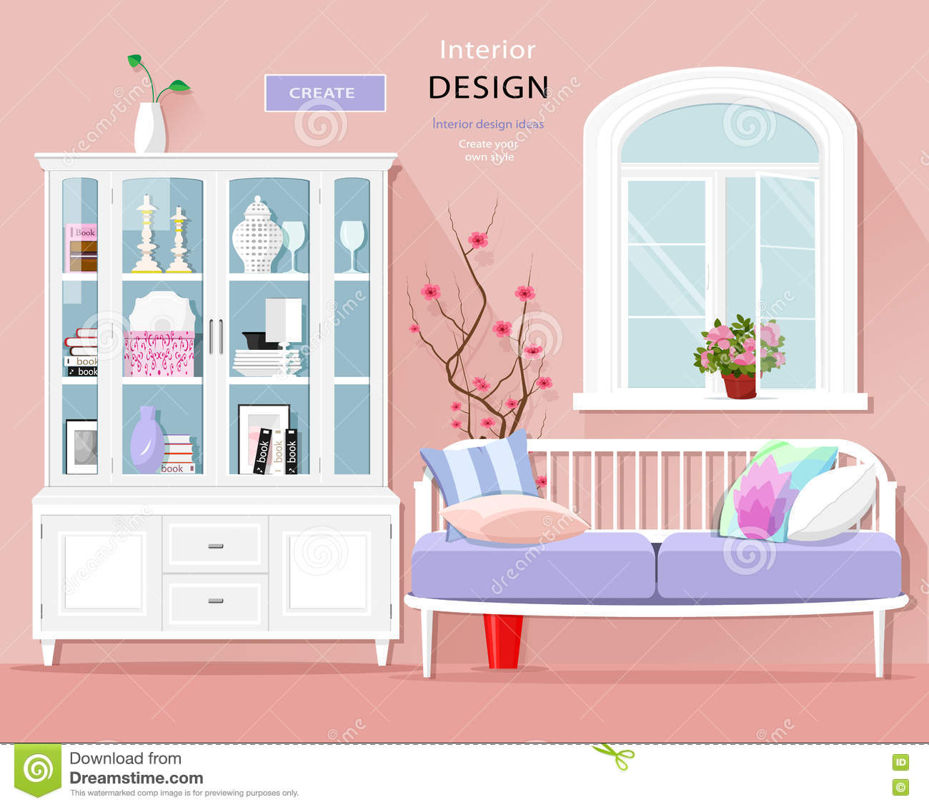 Nice Bedroom Colour Schemes Clipart Of Bedroom Black And White Bedroom Decor Youtube Bedroom Sets White: Stylish Graphic Room Interior With Pastel Colors: Sofa