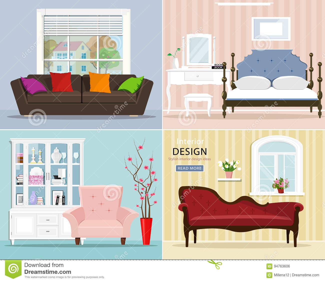 Stylish Graphic Room Set: Bedroom With Bed And Night Table