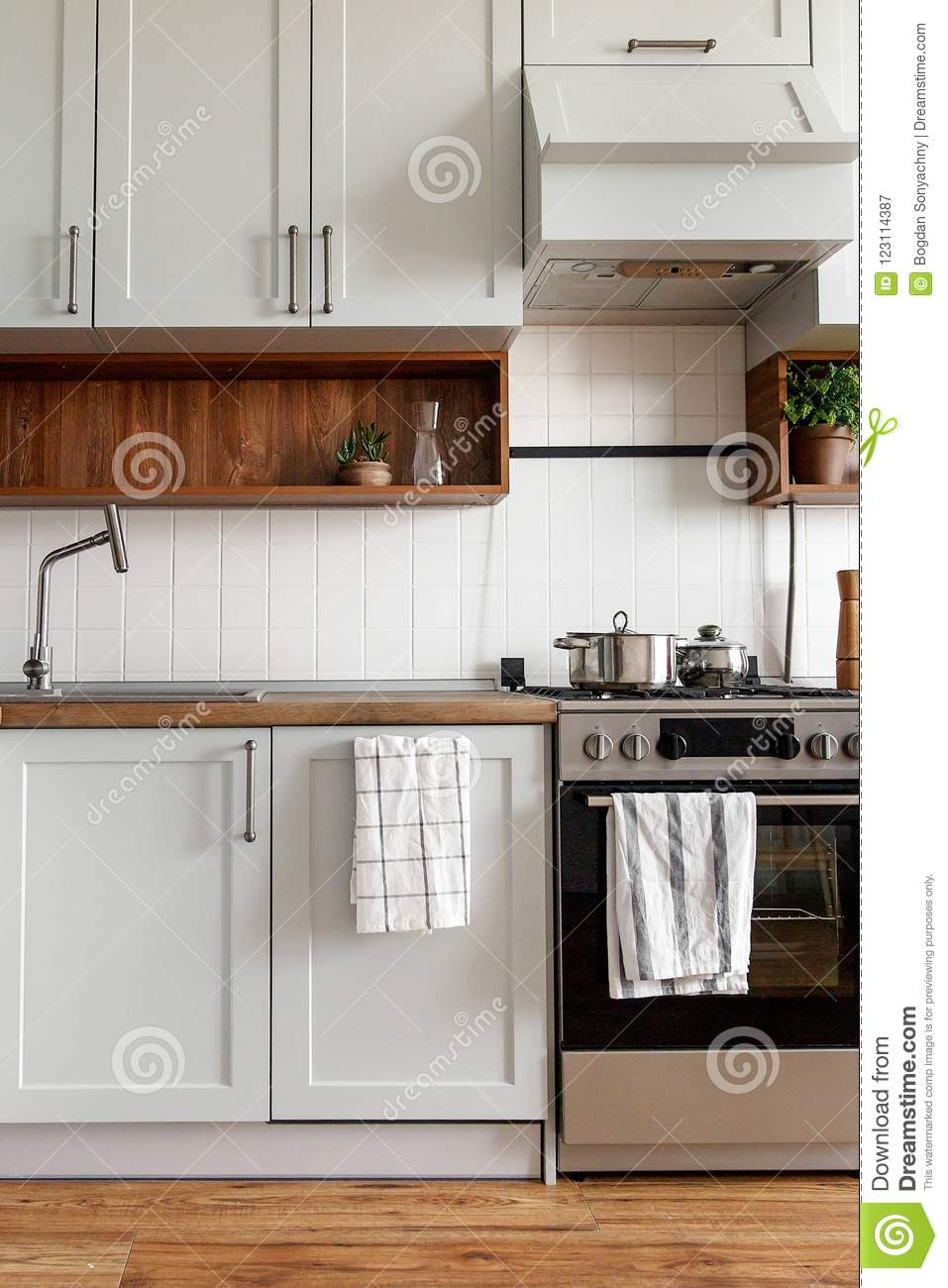 Stylish Gray Kitchen Interior With Modern Doors And Stainless St Stock Image Image Of Cooker Clean 123114387