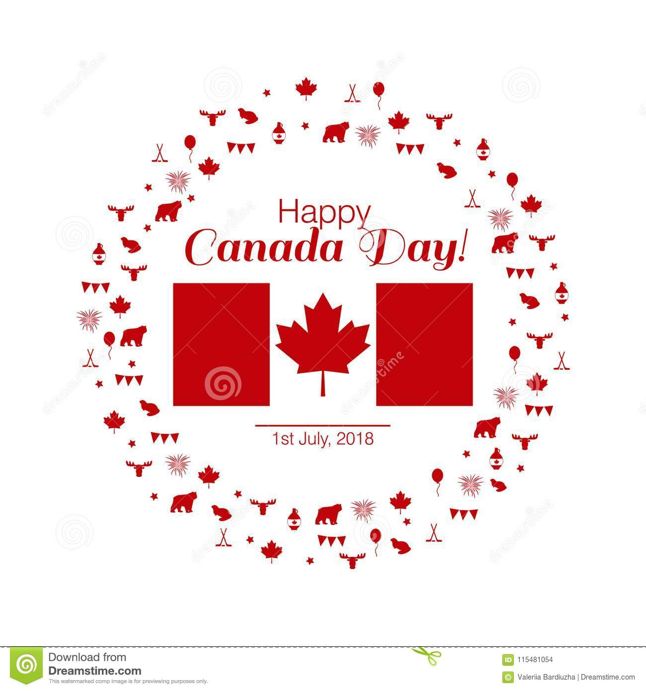 Stylish Vector Illustration Greeting Card Of Happy Canada Day Stock