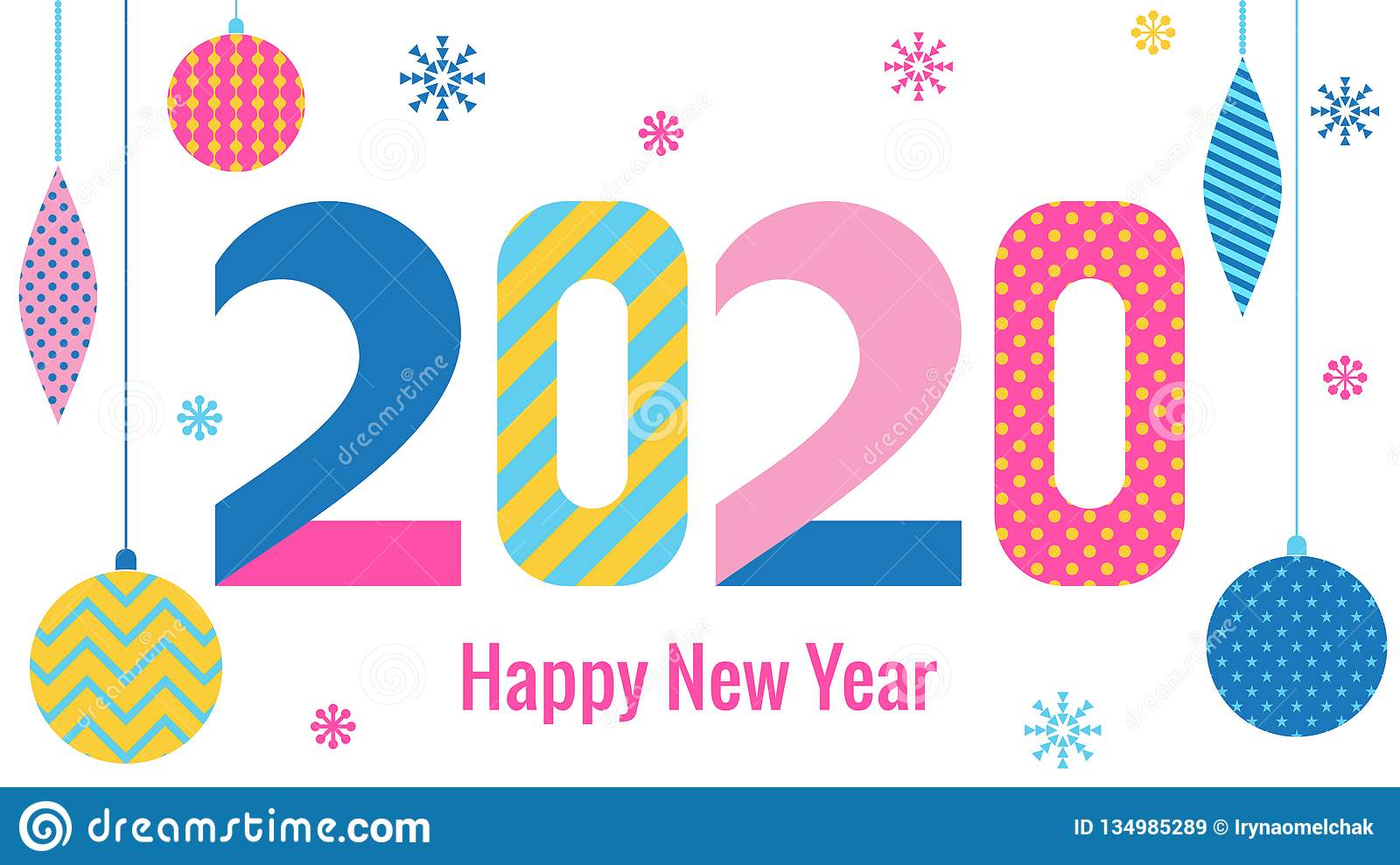 New Years Cards 2020 Stylish Greeting Card. Happy New Year 2020. Trendy Geometric Font