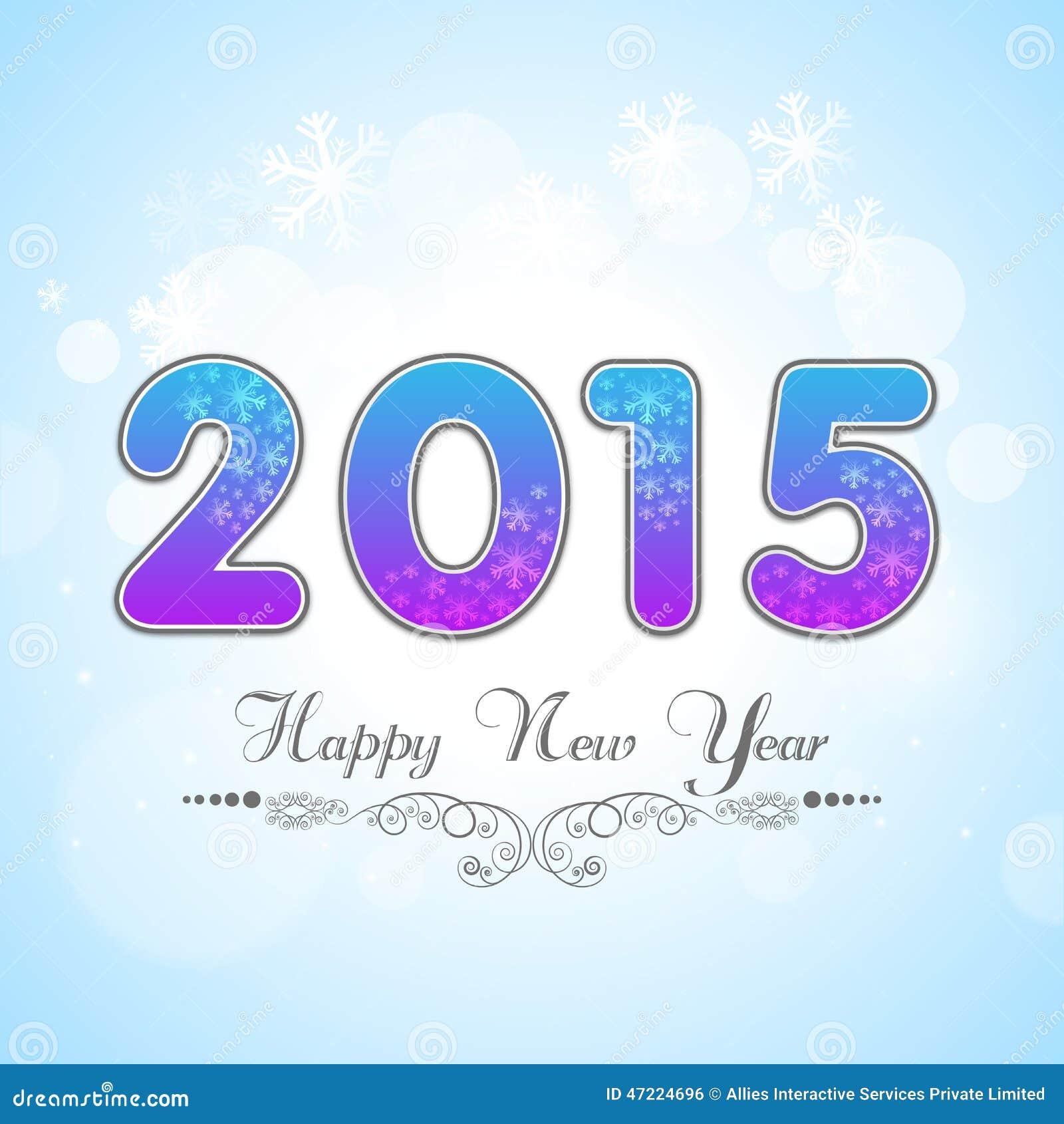 Stylish Greeting Card For New Year 2015 Celebration With Creativ
