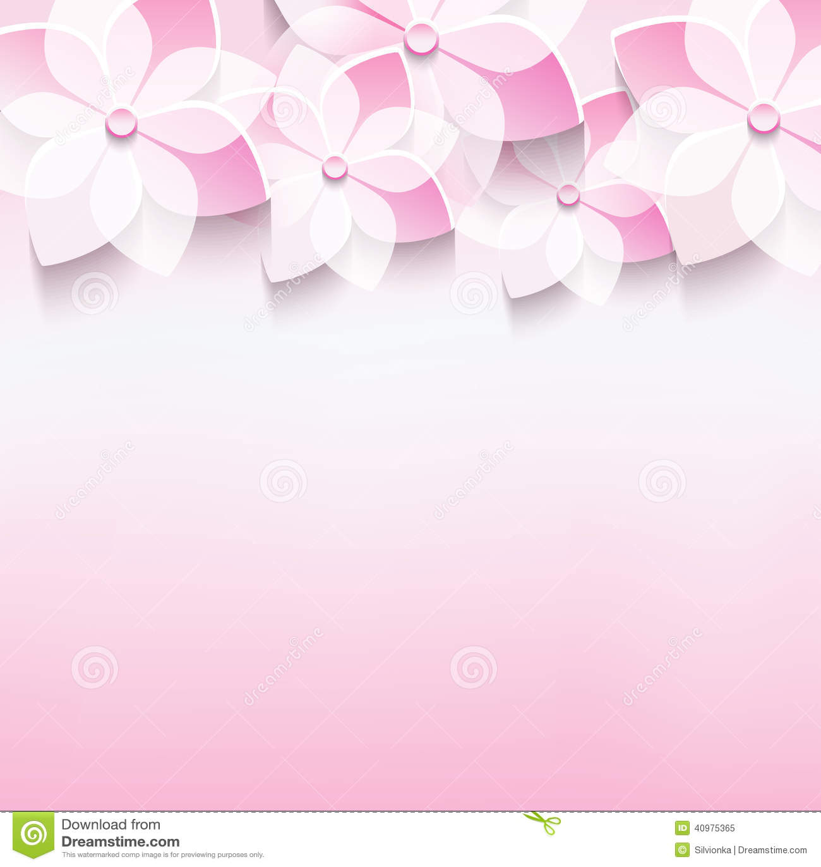 Stylish Greeting Card With Pink 3d Sakura Flower Stock