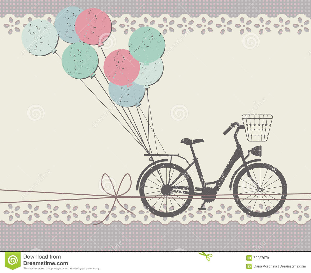 Stylish Greeting card with retro bicycle