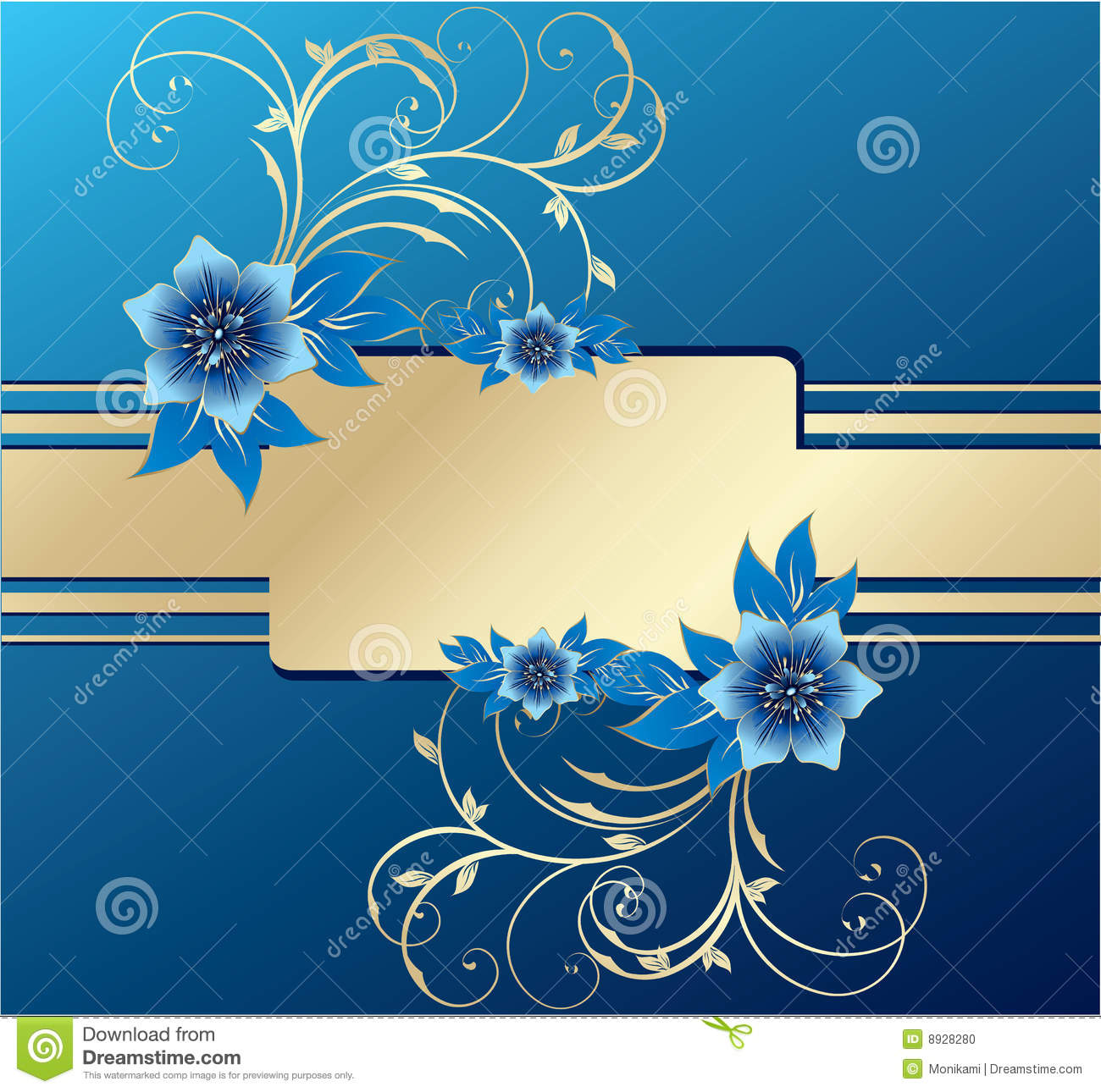 Stylish blue and gold greeting cards stock vector illustration of stylish greeting cards with floral elements stock illustration m4hsunfo