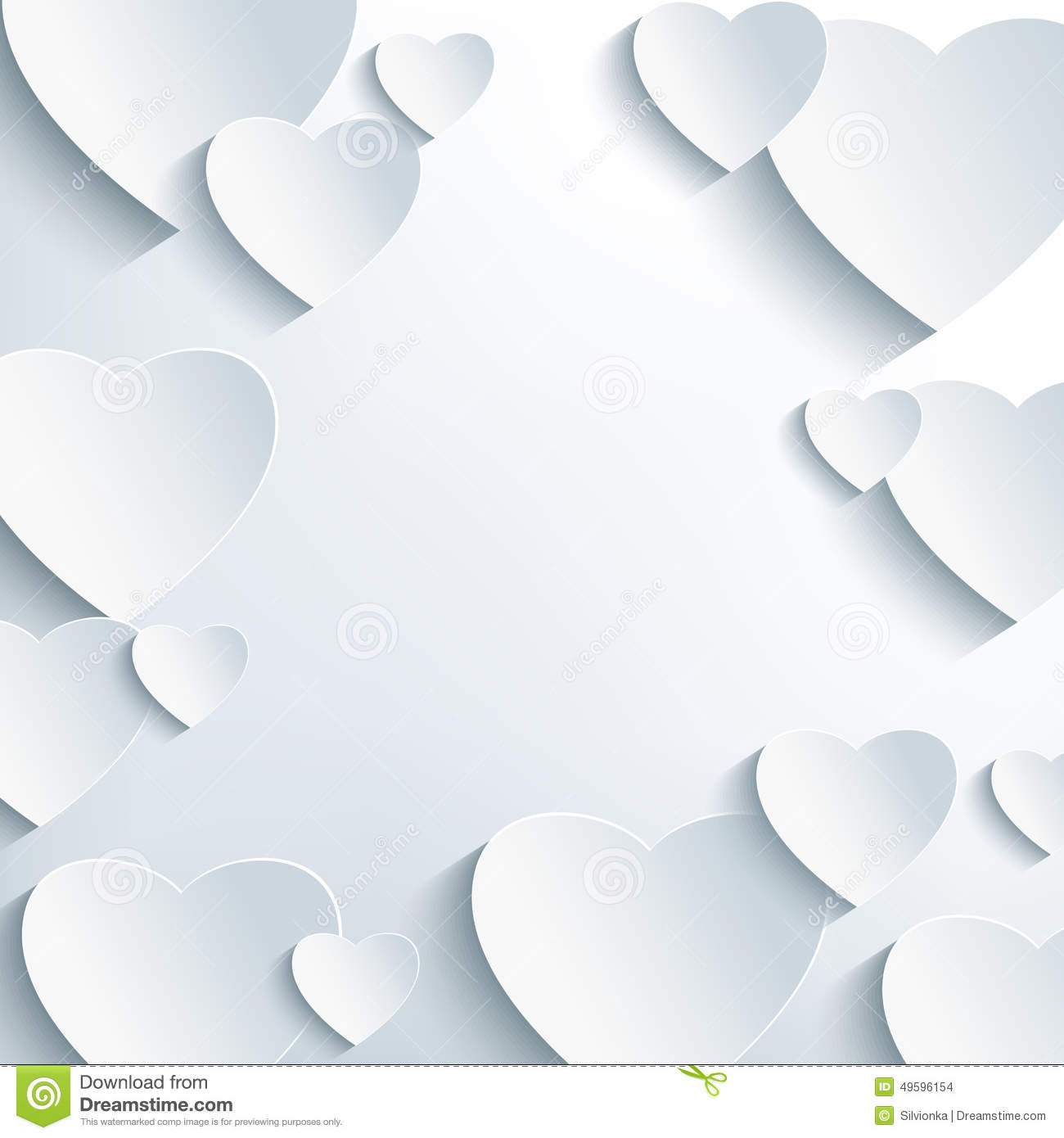 stylish grey background with 3d paper hearts stock vector