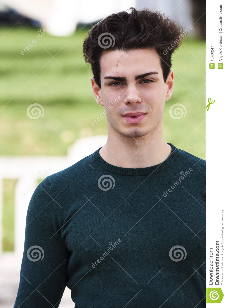 Stylish Hair Young Man Outdoors Tight Knit Stock Photo