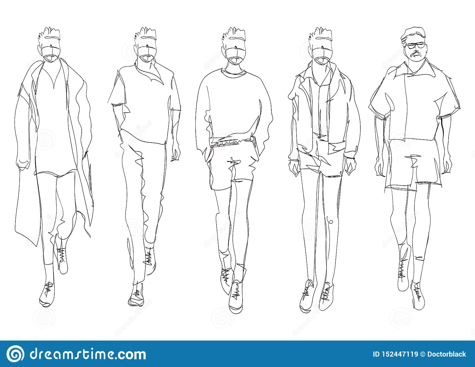 Stylish Handsome Mans In Fashion Clothes Hand Drawn Beautiful Young Mens Stylish Mens Set Fashion Mens Sketch Fashion Men Stock Illustration Illustration Of Drawing Model 152447119