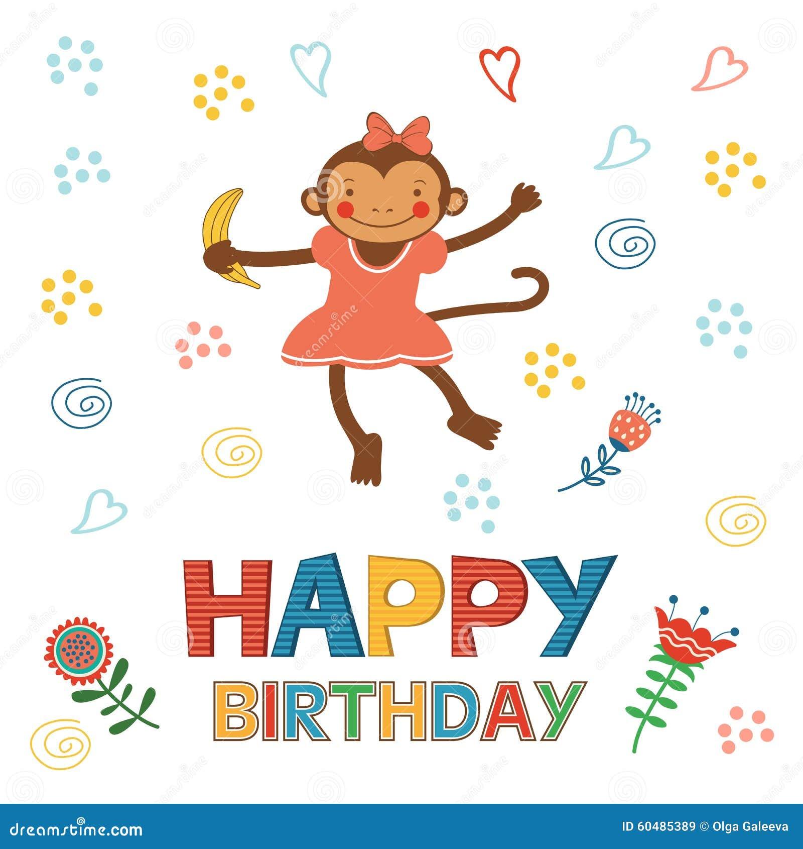 Happy birthday to you обезьяны открытка