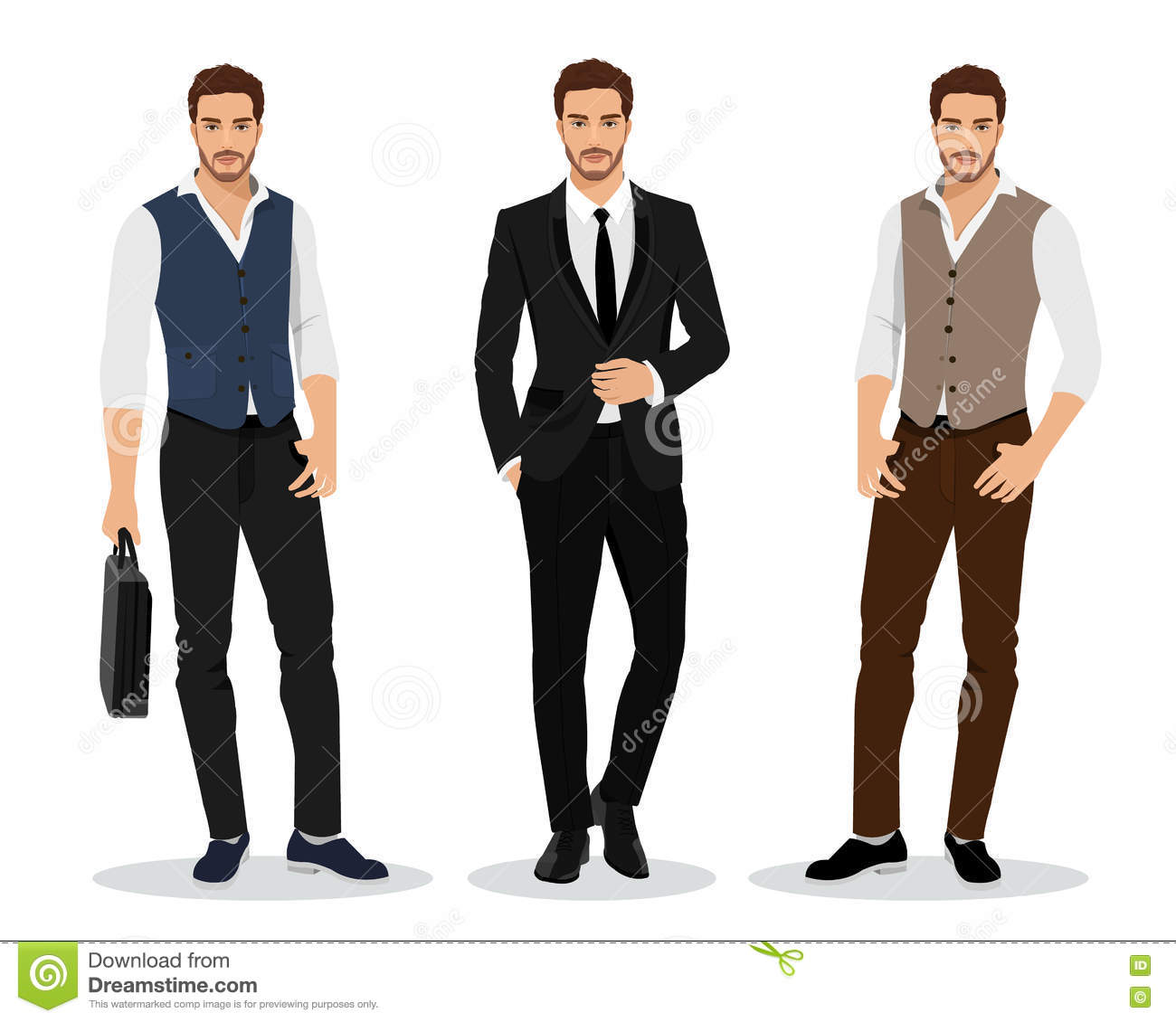 Stylish High Detailed Graphic Businessmen Set Cartoon Male