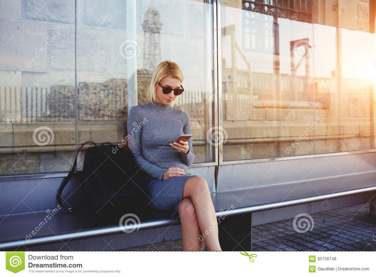 Stylish Hipster Girl Chatting In Network Via Smart Phone