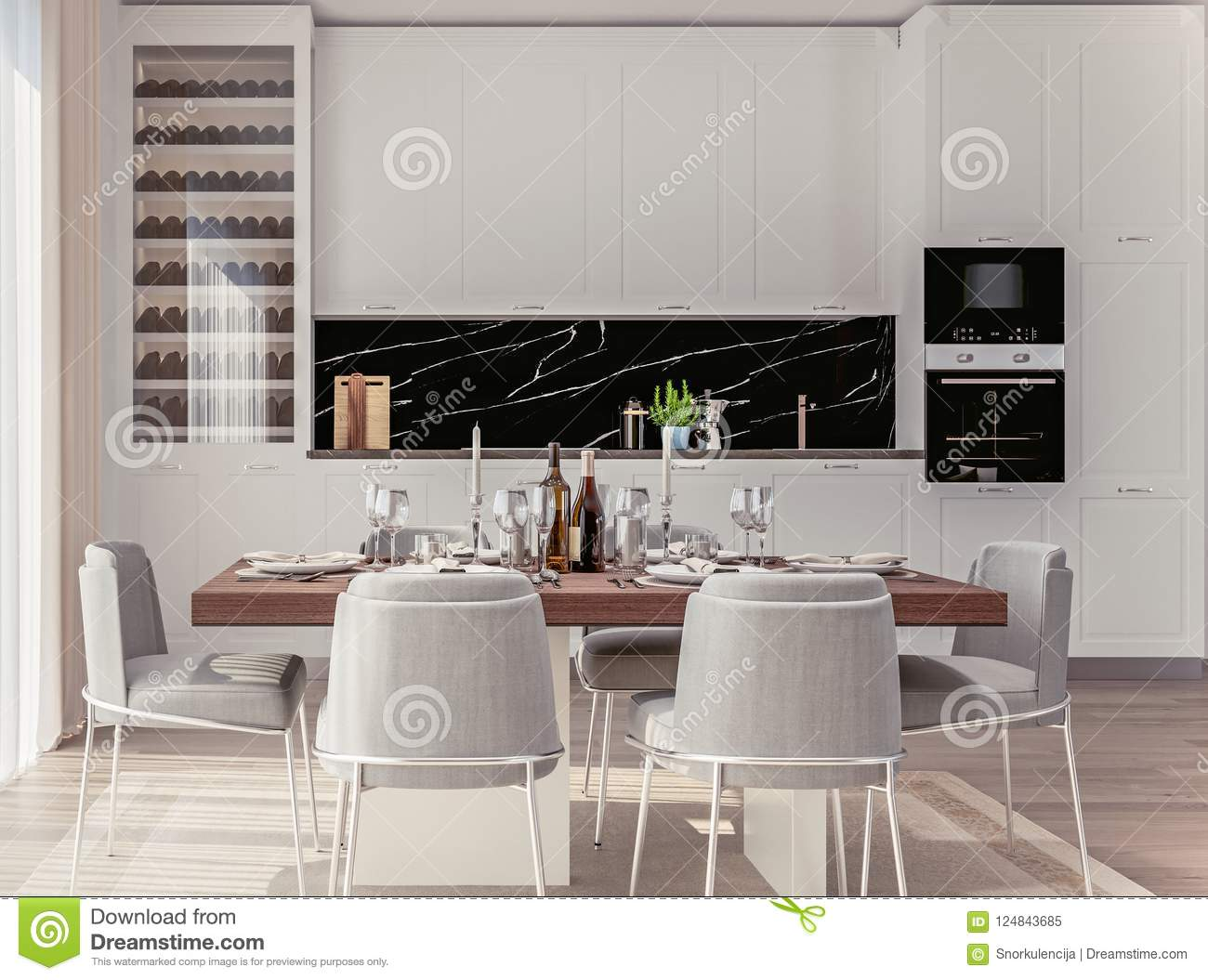 Stylish Home Interior With Open Plan Kitchen And Dining Area With