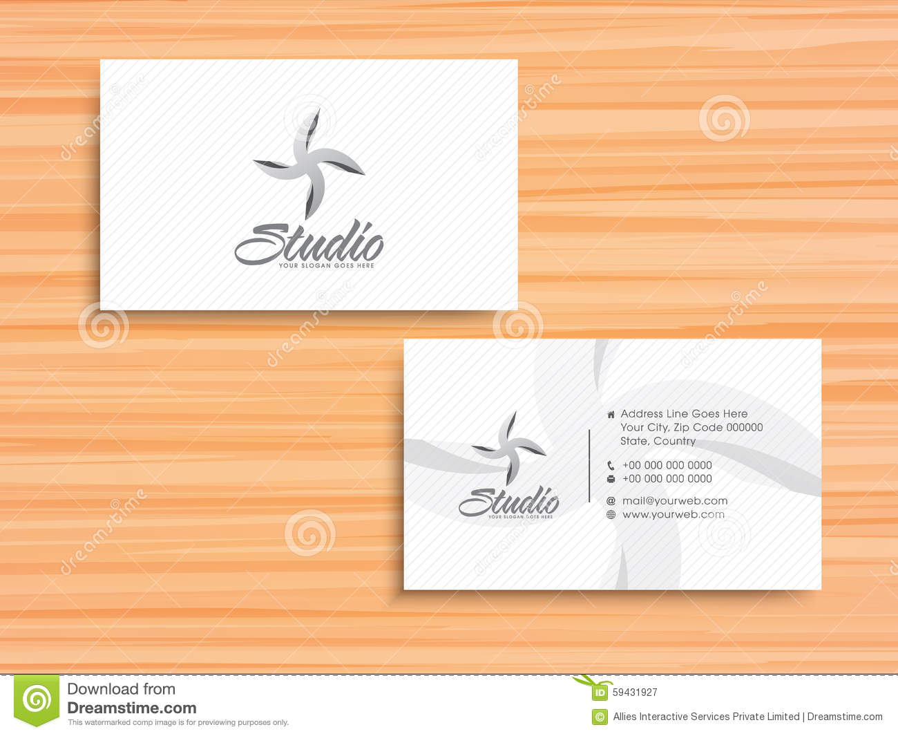 Stylish Horizontal Business Card Or Visiting Card Stock