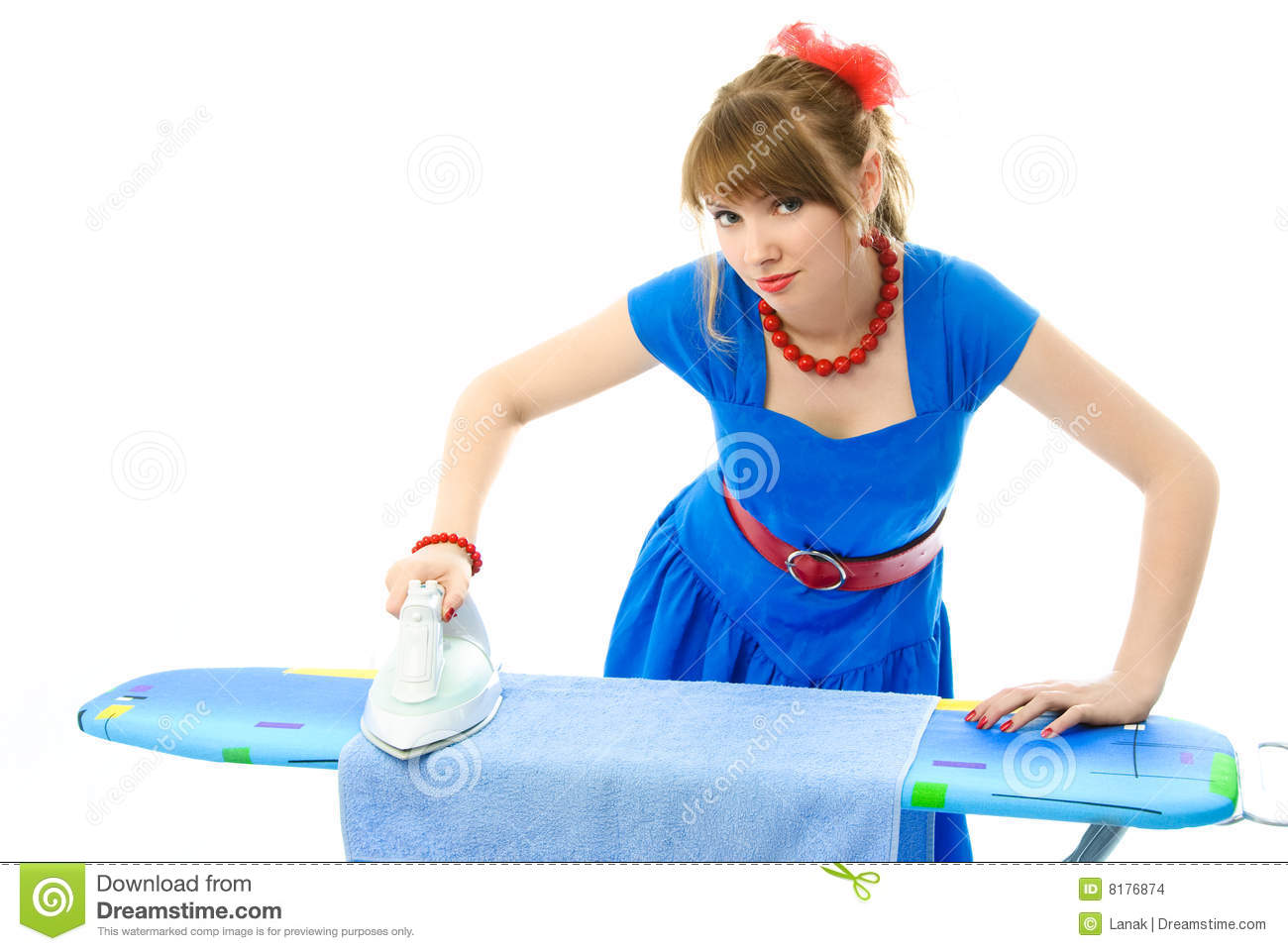 Stylish Housewife Ironing The Clothes Stock Images - Image: 8176874