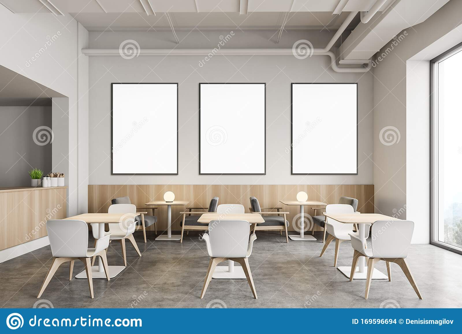 Stylish Industrial Style Restaurant With Posters Stock Illustration Illustration Of Cafe Copy 169596694